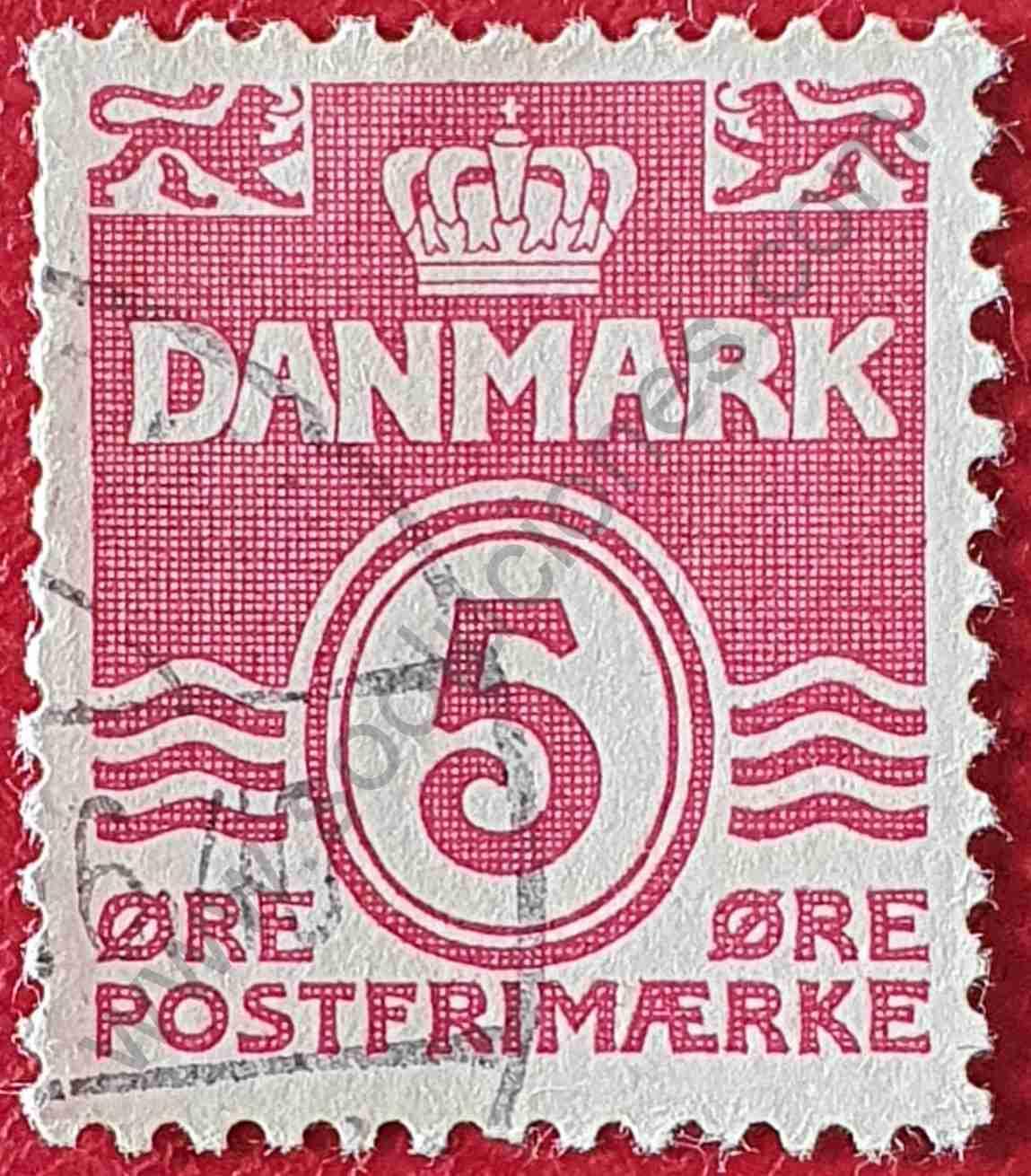Número 5 - Sello Dinamarca 1938