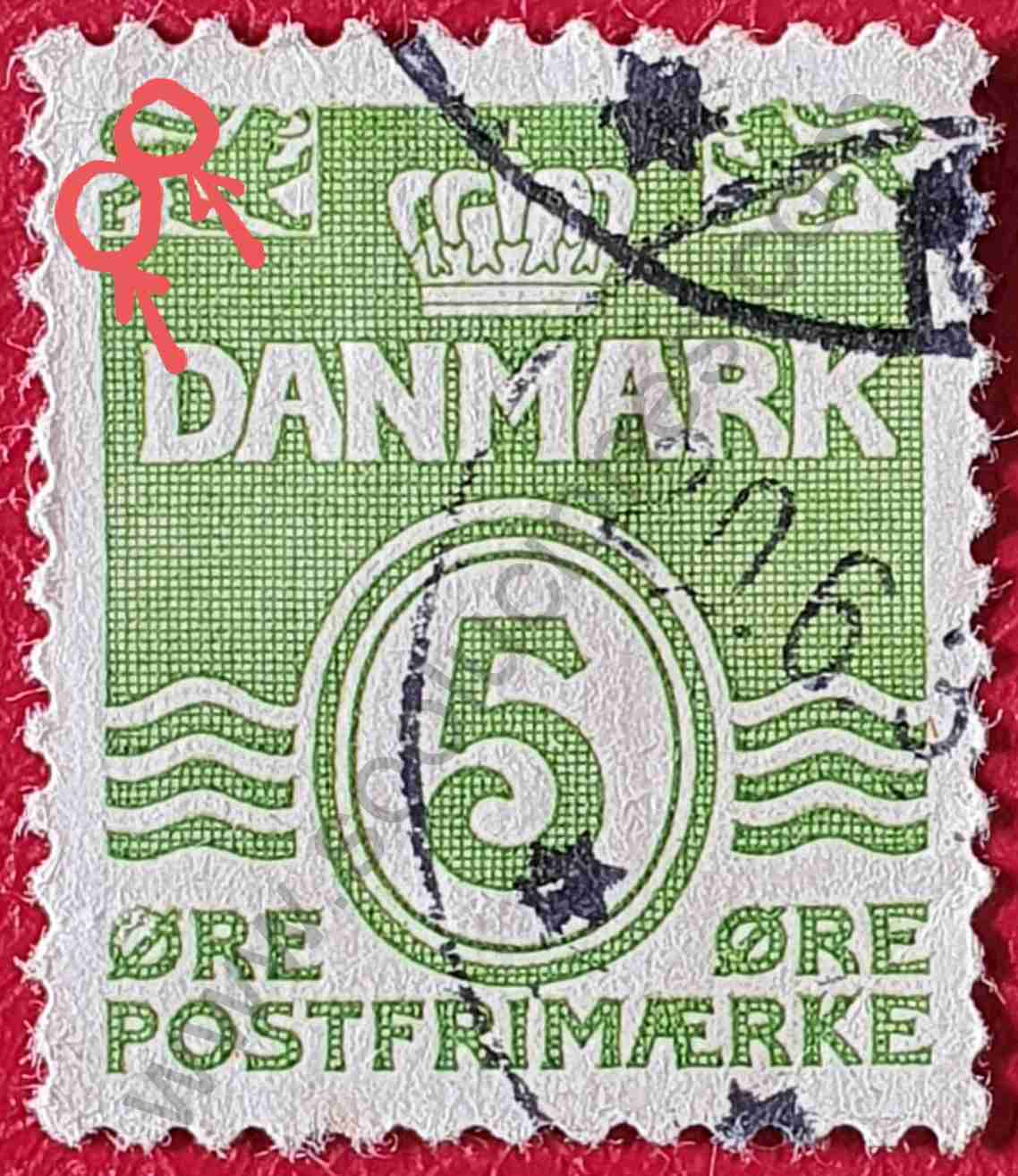"Serie básica ""Olas"" - Sello Dinamarca 1937"