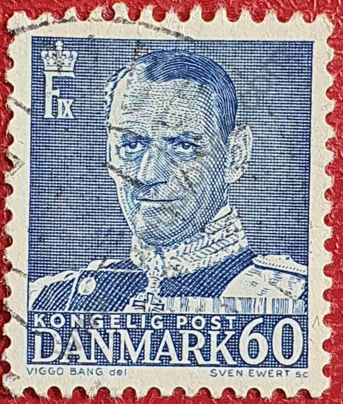 Rey Federico IX - 60 øre - Sello Dinamarca 1953