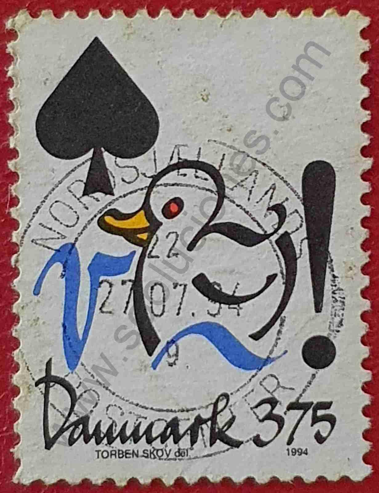 Pato y Espada de naipe - Sello Dinamarca 1994