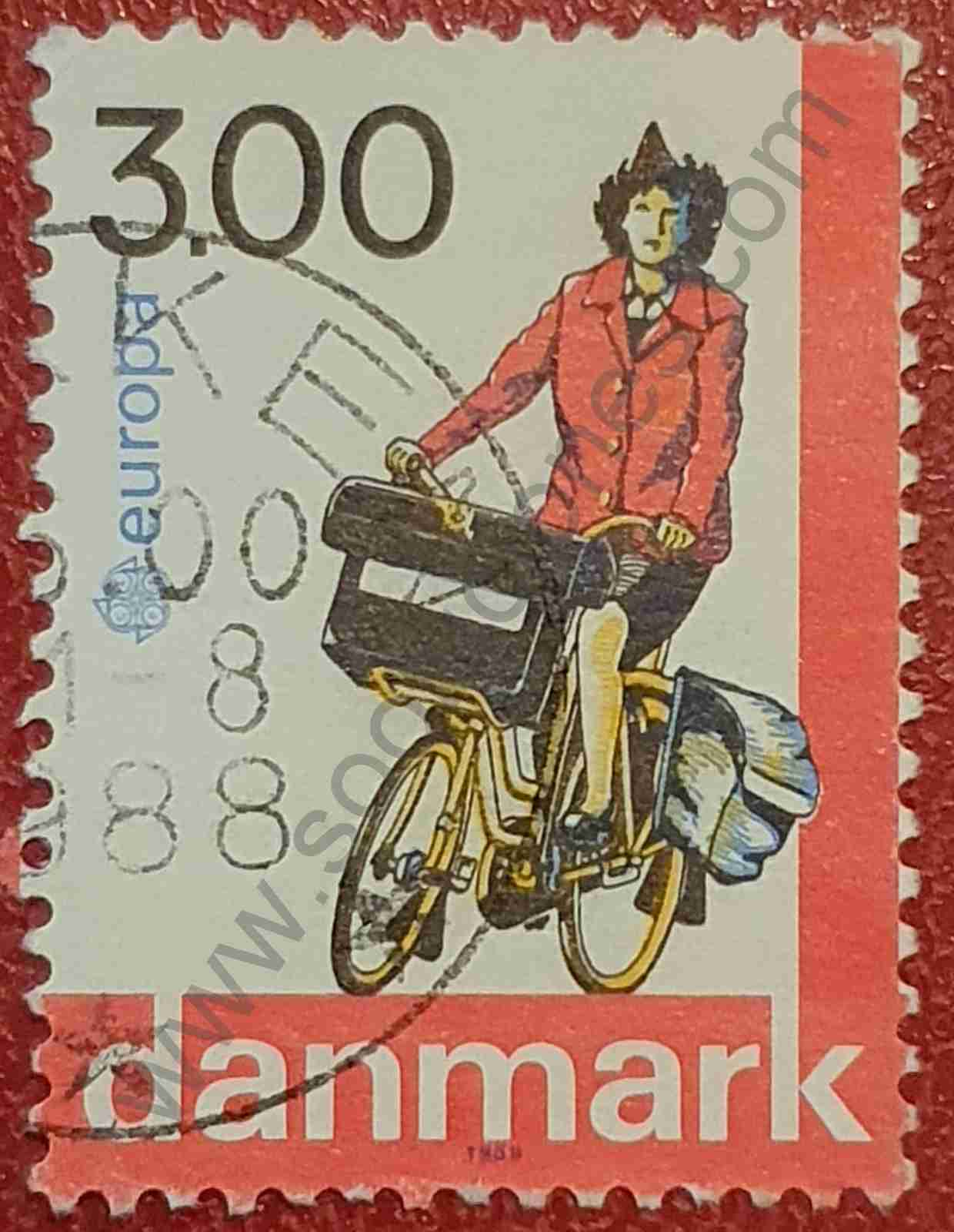 Mujer cartera en bicicleta - Sello Dinamarca 1988