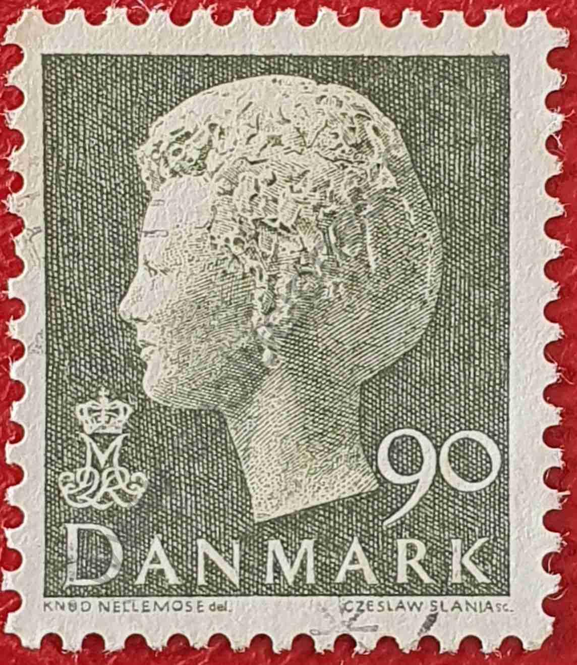 Reina Margarita II 90 coronas - sello Dinamarca 1979