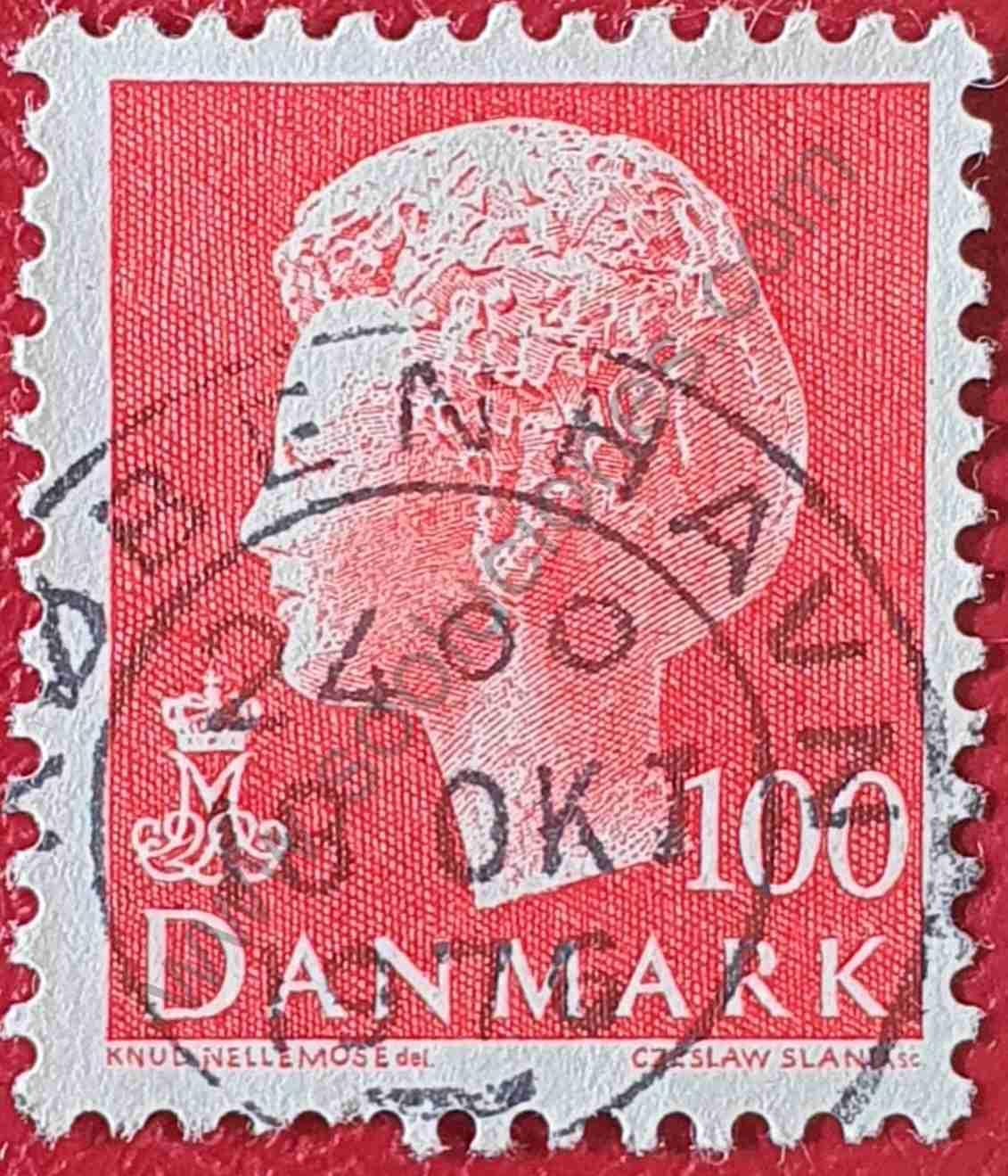 Reina Margarita II 100 coronas - Sello Dinamarca 1976
