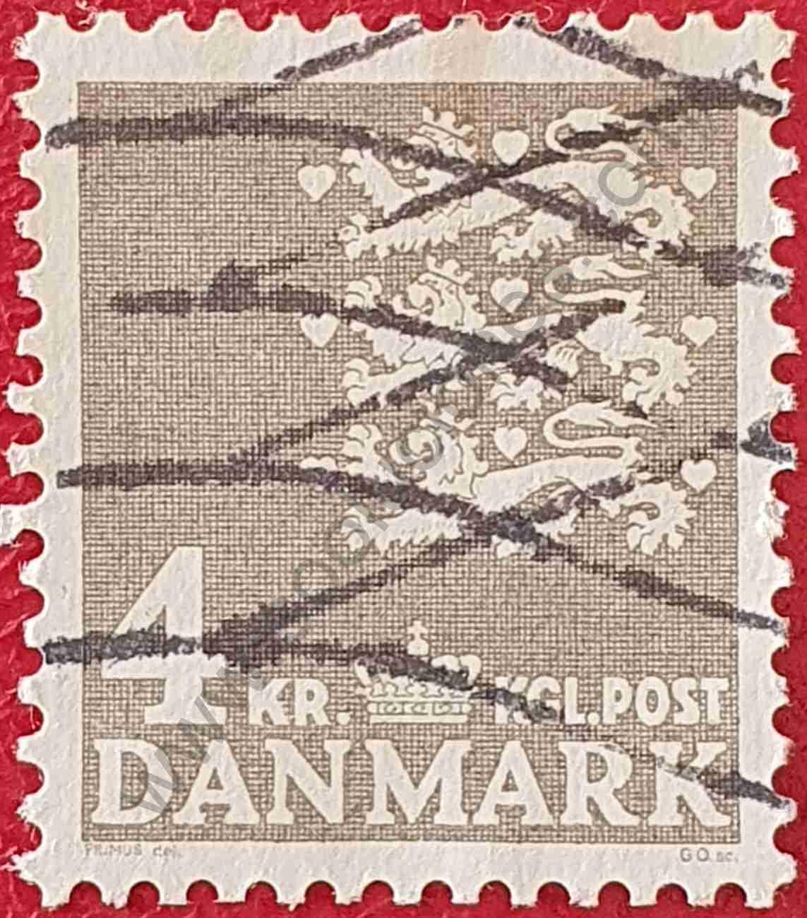 Escudo de armas 4 dkr - Sello Dinamarca 1969