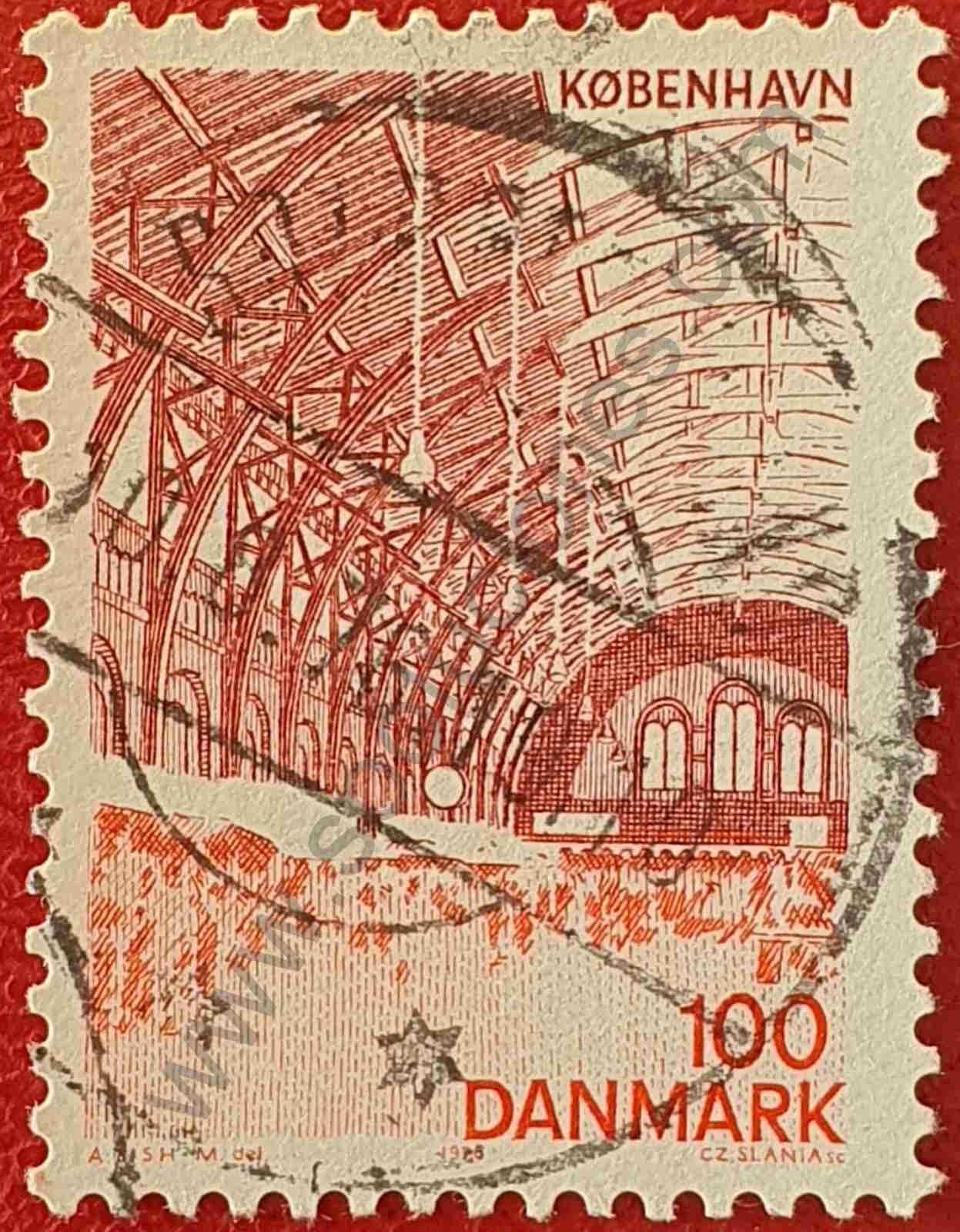 Estación tren Copenhague - Sello Dinamarca 1976