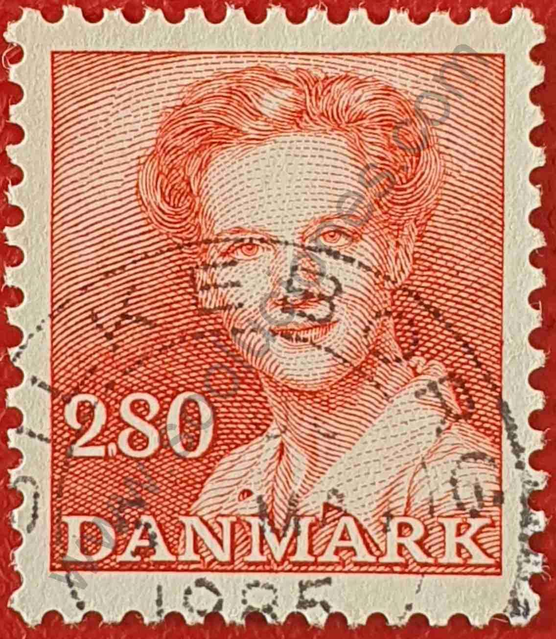 Reina Margarita II valor facial 2,80 - Sello Dinamarca 1985