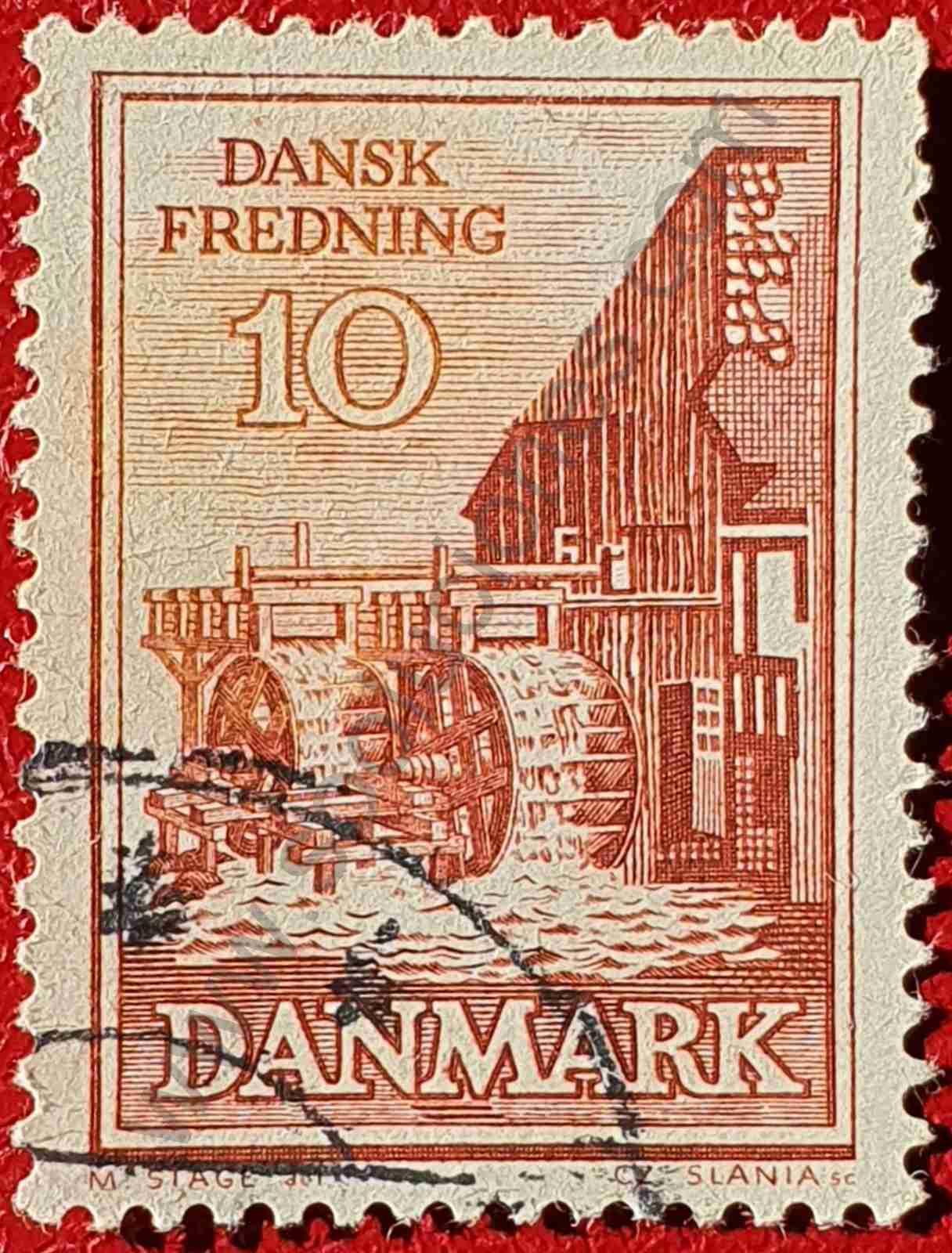 Molino de agua - Sello Dinamarca 1962