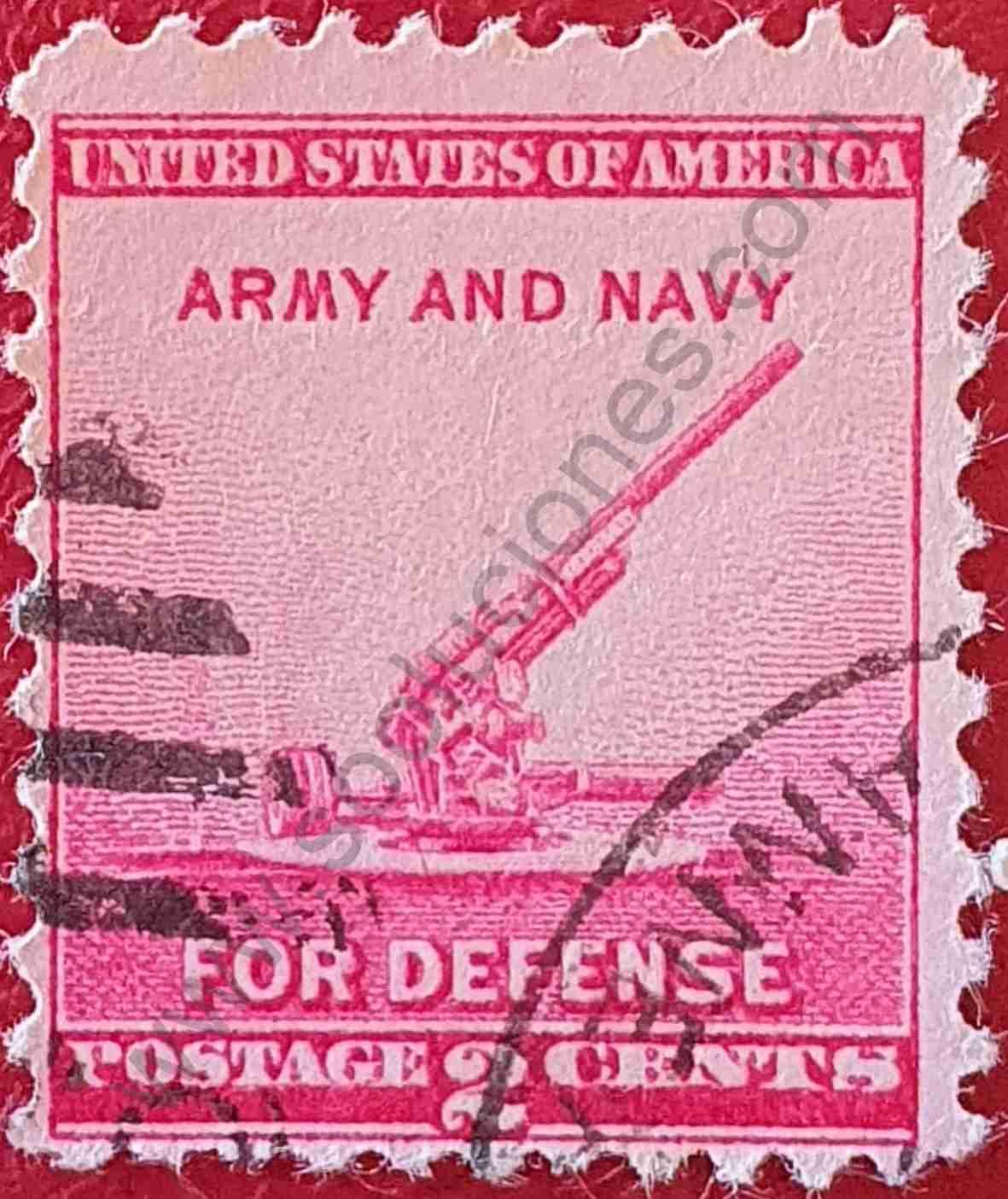 Cañón antiaéreo - Sello Estados Unidos 1940