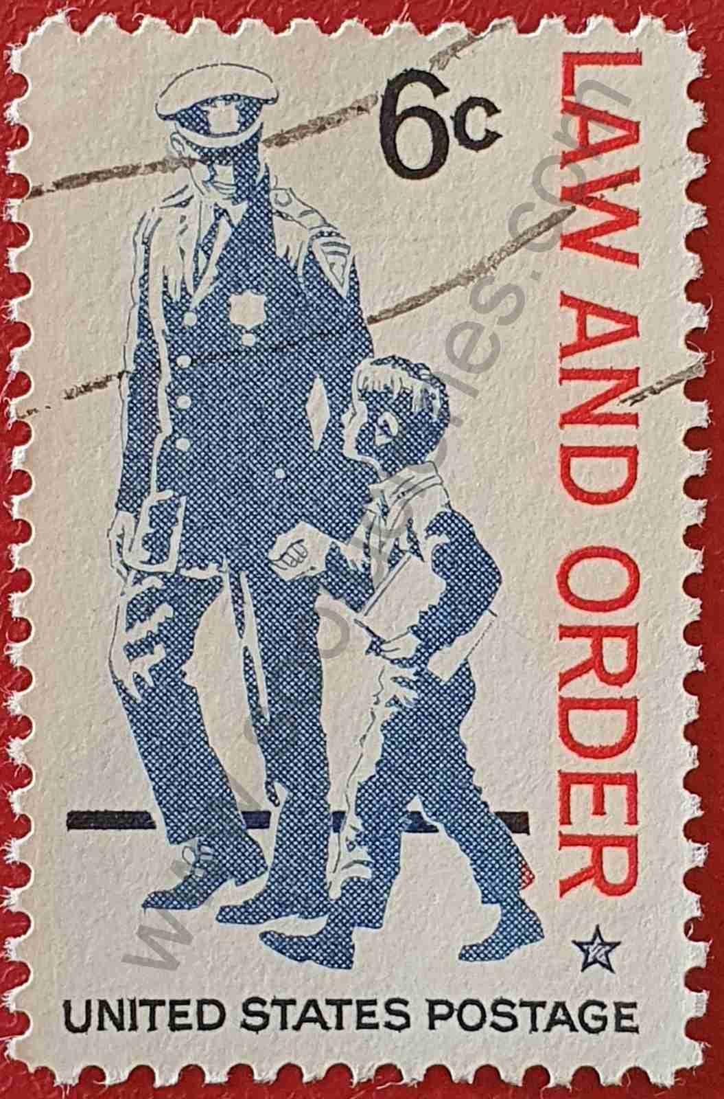 Policía y niño - Sello Estados Unidos 1968