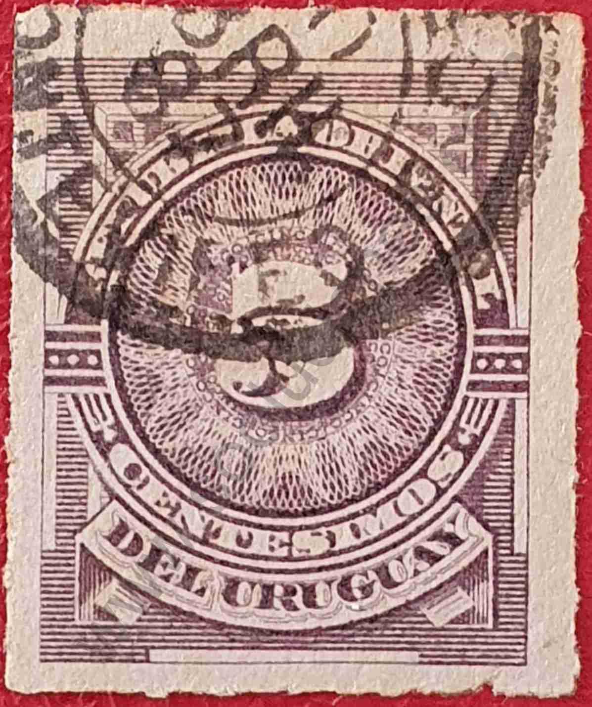 Número cinco - Sello Uruguay 1884