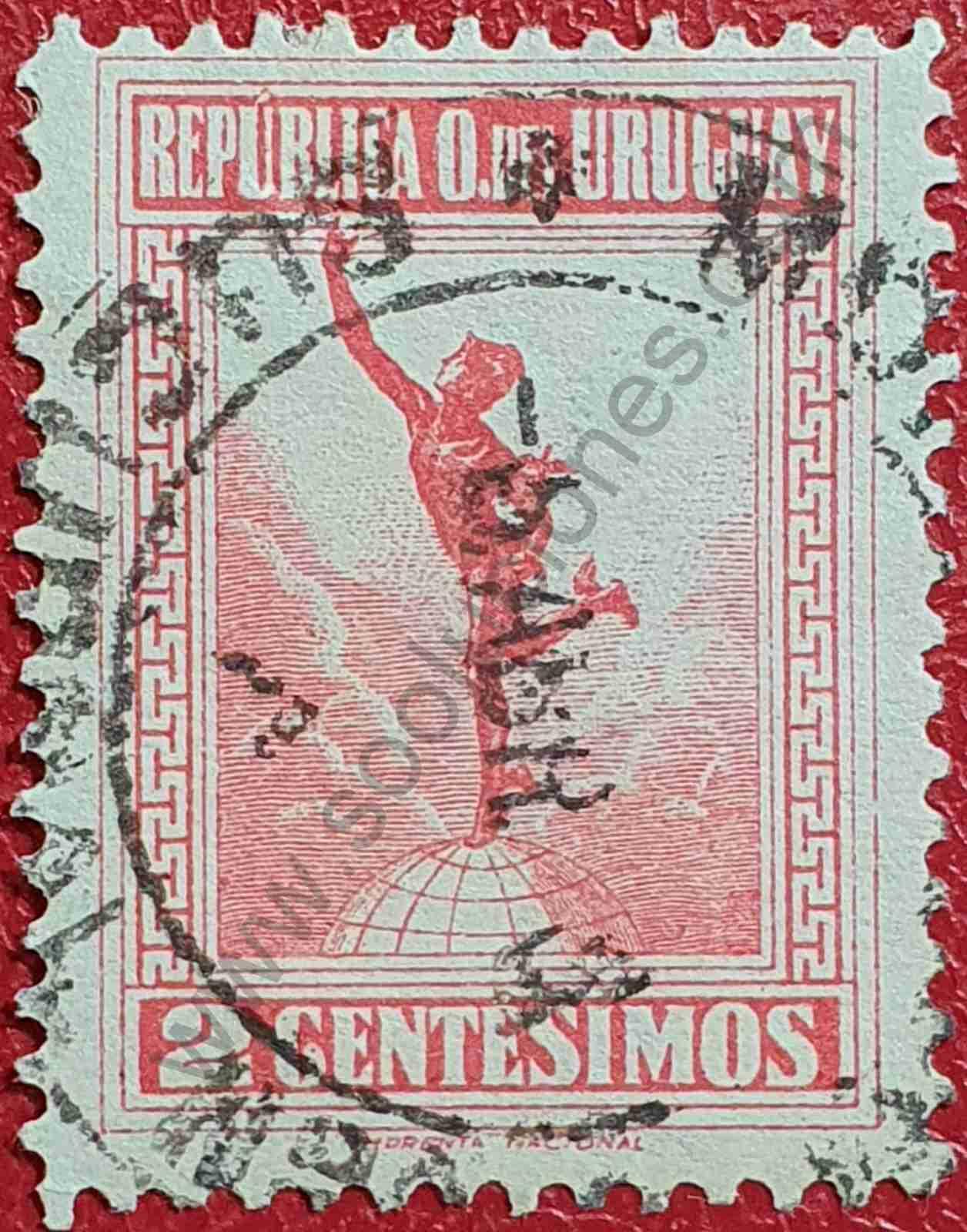 Dios Mercurio 2c - Sello Uruguay 1922