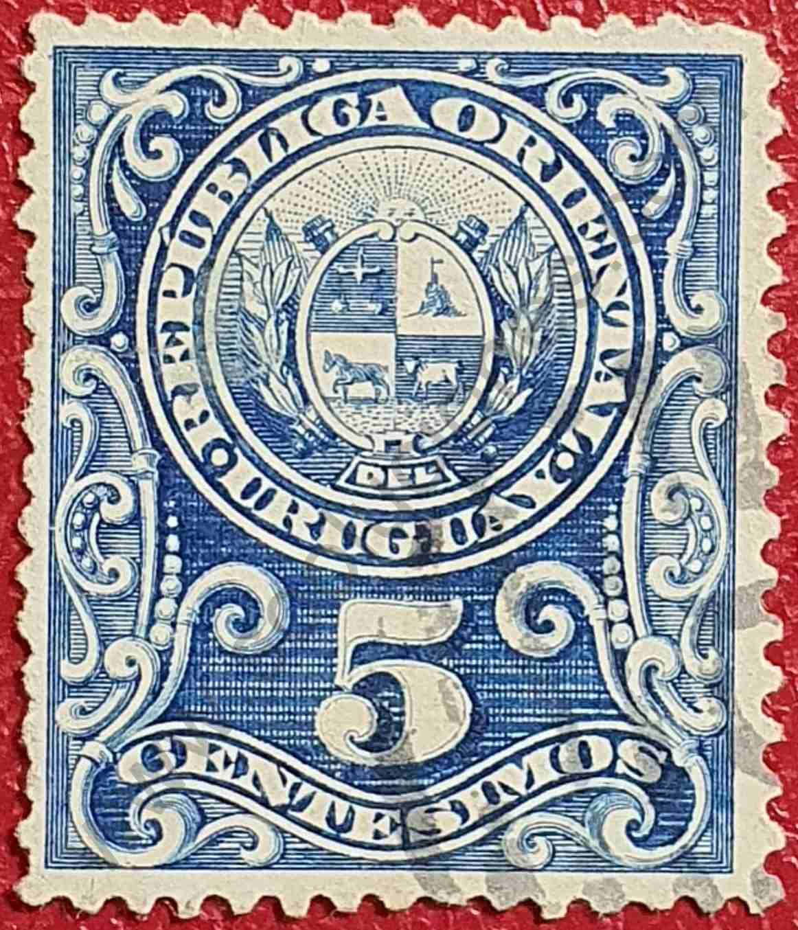 Número 5 y Escudo - Sello de Uruguay 1889