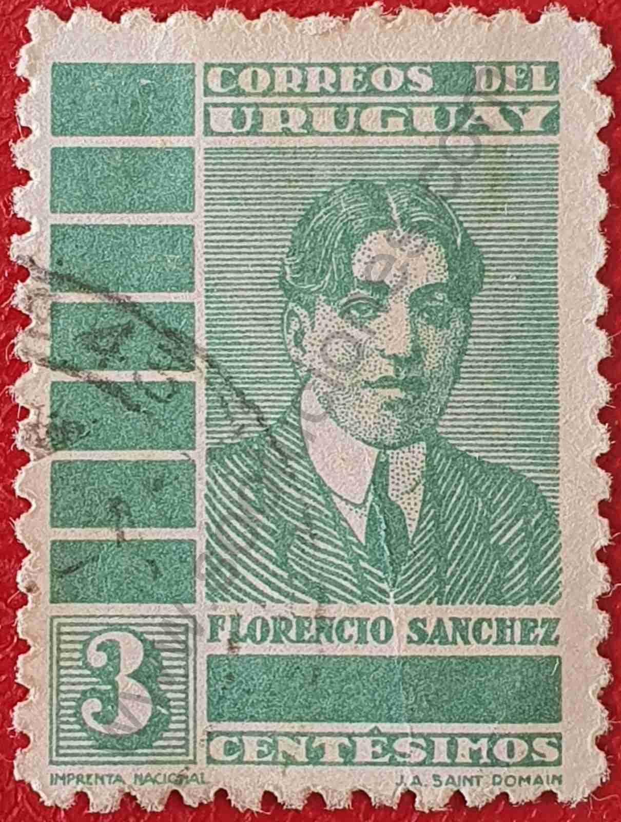 Florencio Sanchez 3c - Sello Uruguay 1935