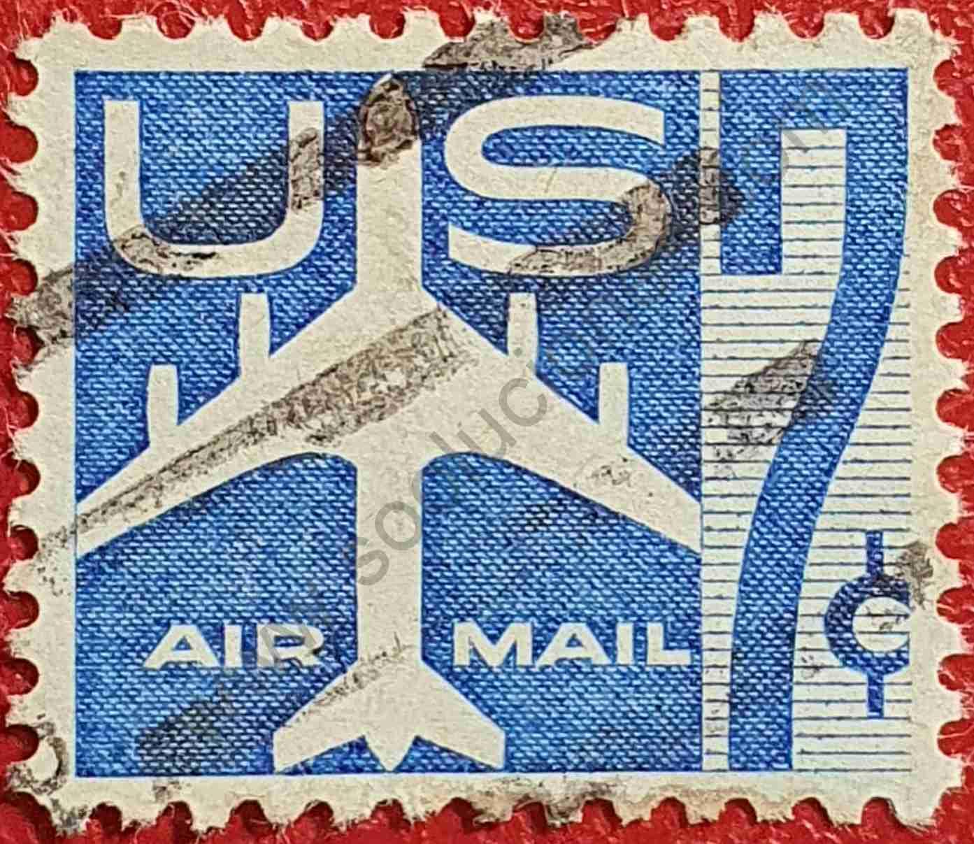 Silueta avión 7c - Sello Estados Unidos 1958