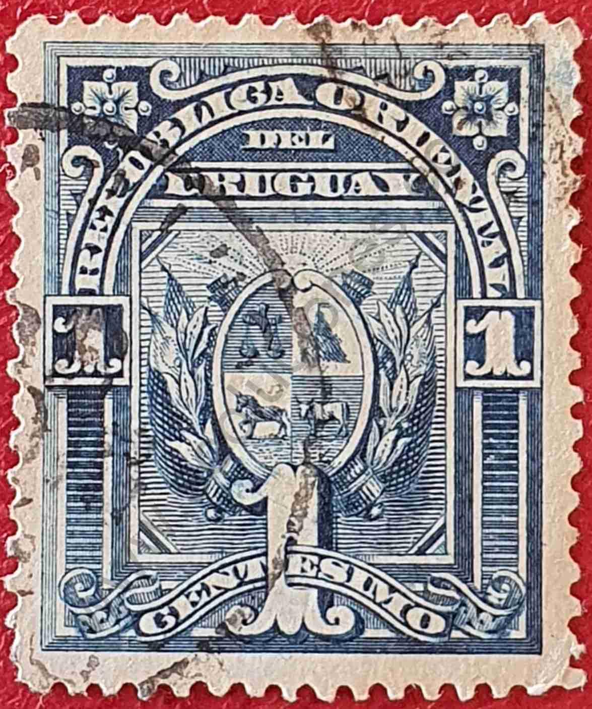 Sello Uruguay Escudo 1c - dentado 15 - 1894