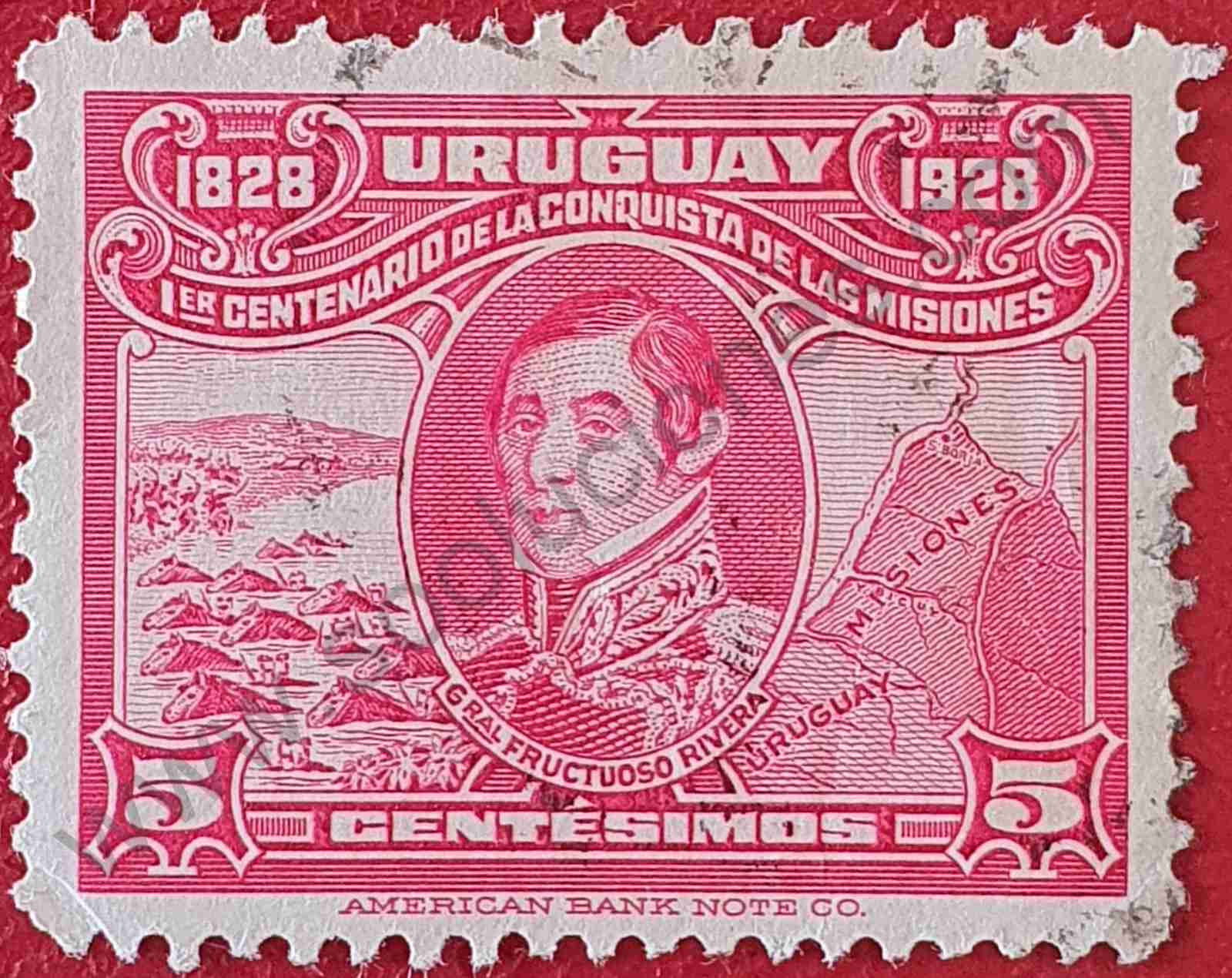 General Fructuoso Rivera 5c - Sello Uruguay 1928