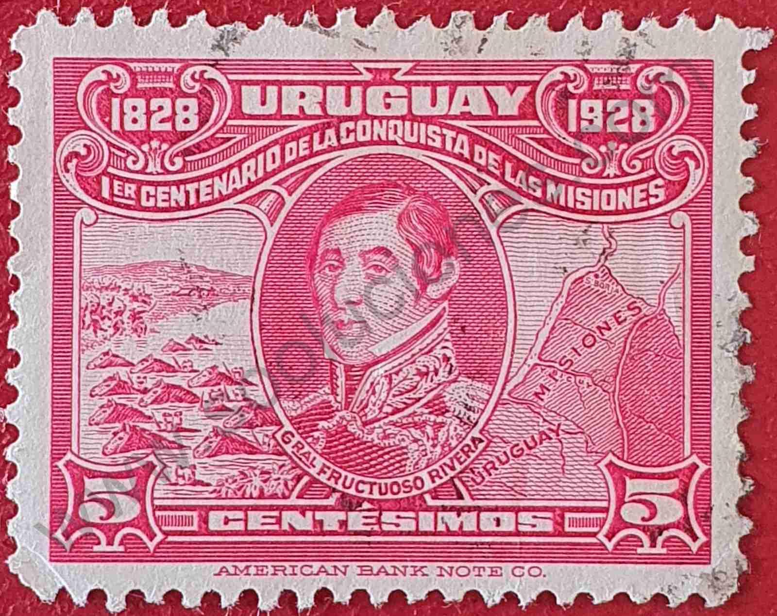 General Fructuoso Rivera 5c - Sello Uruguay 1928