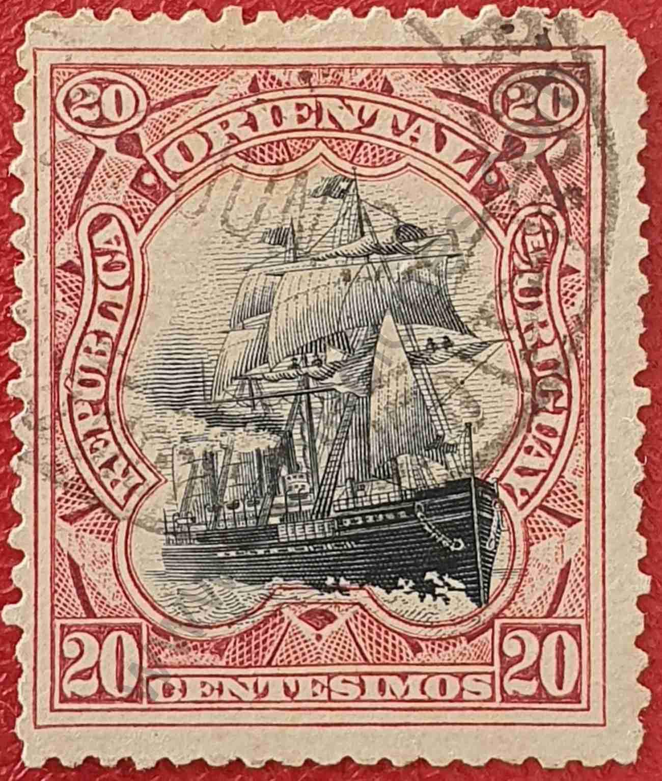 Buque Elbe - Sello de Uruguay año 1897 - 02389