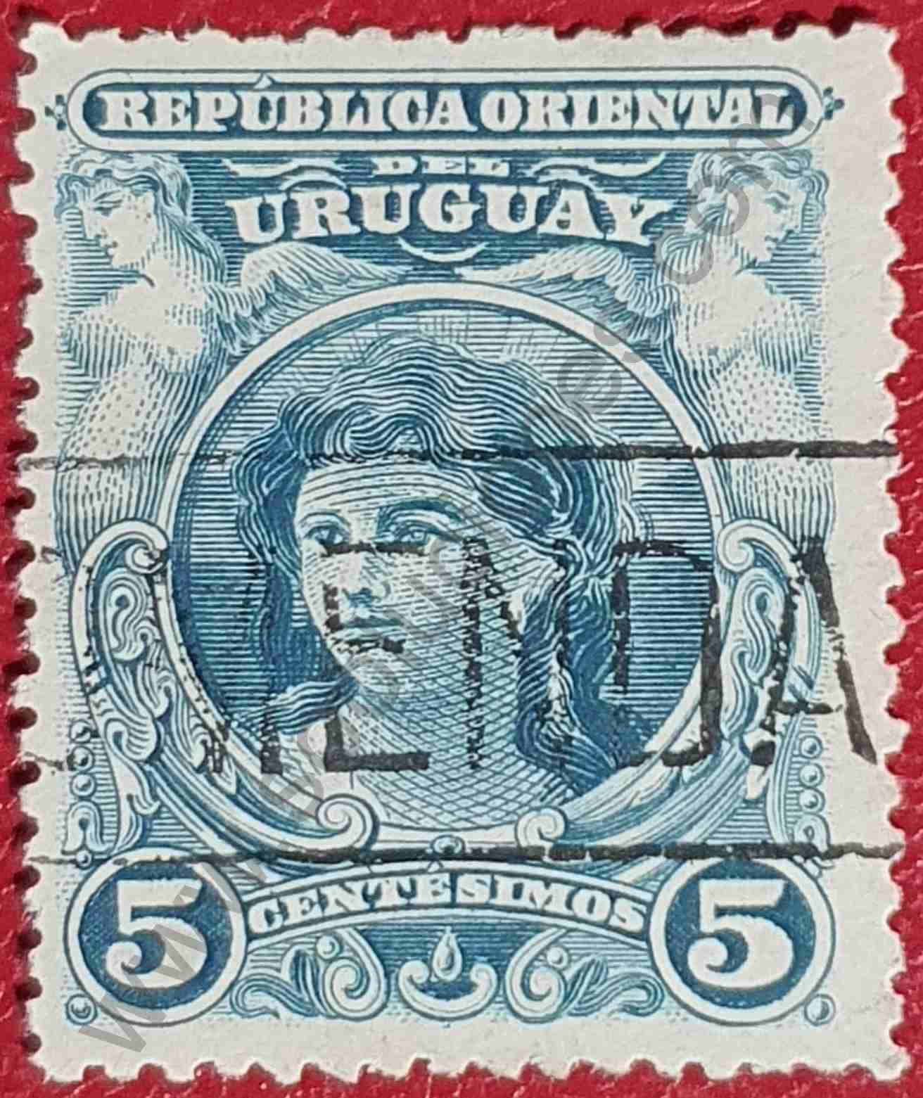 Cabeza de chica 5c - Sello de Uruguay año 1900