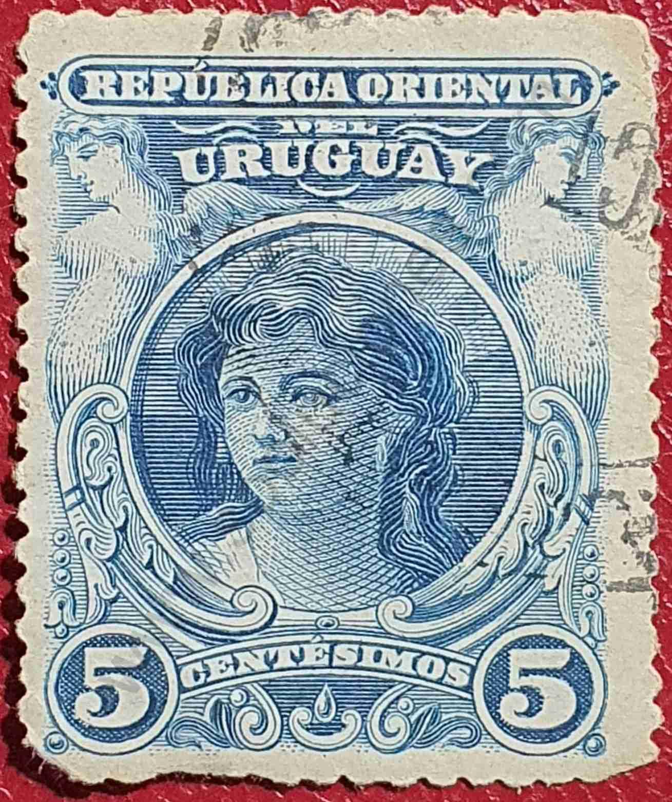 Cabeza de mujer 5c - Sello de Uruguay año 1900