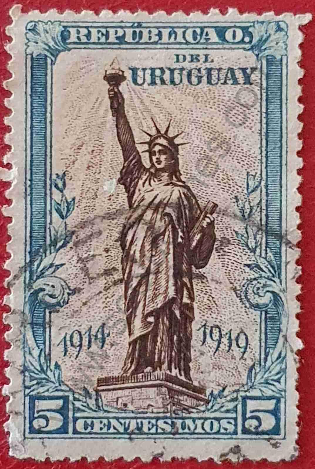 Sello Estatua de la Libertad 5c - Uruguay 1919