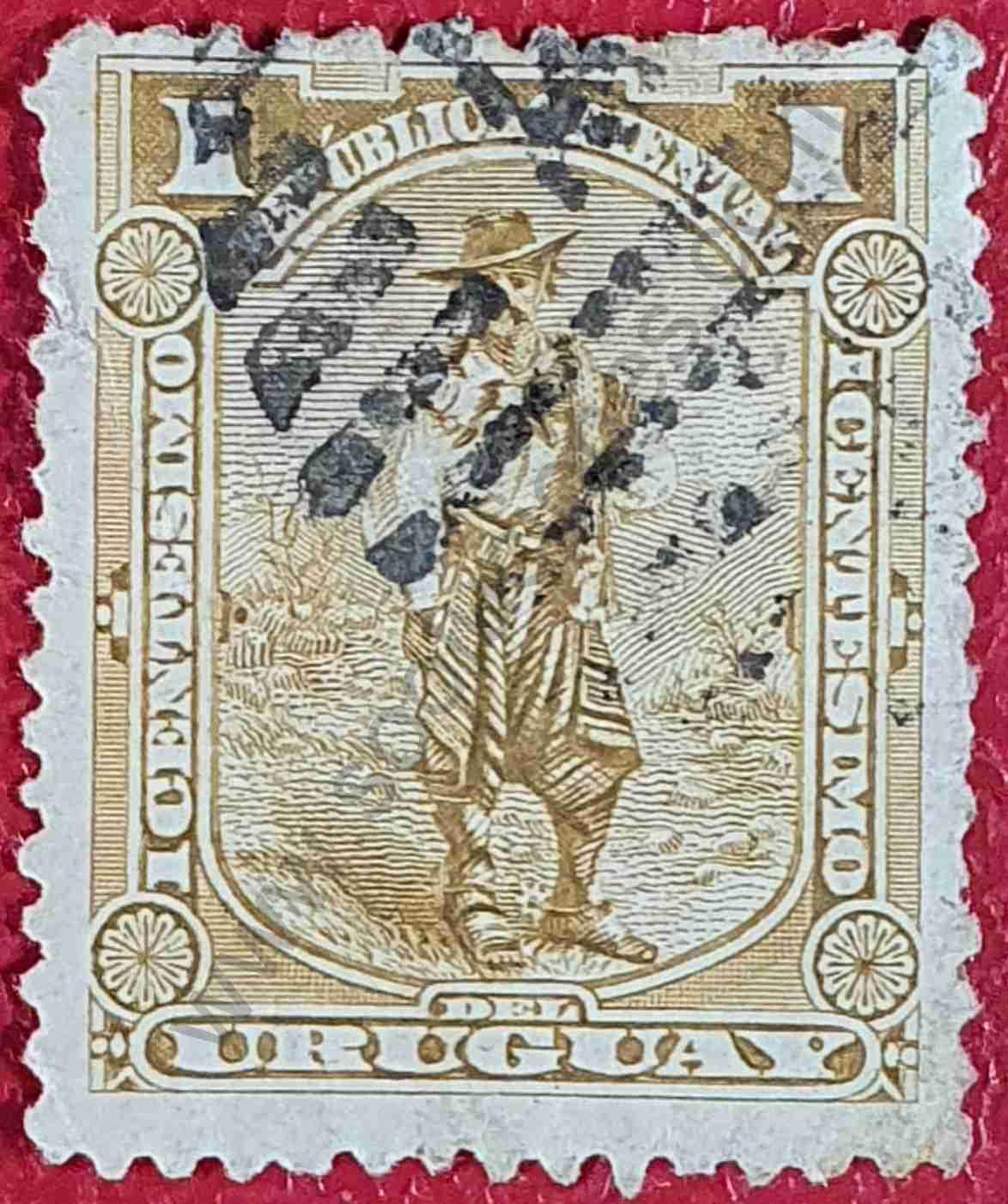El Gaucho - Sello Uruguay 1895