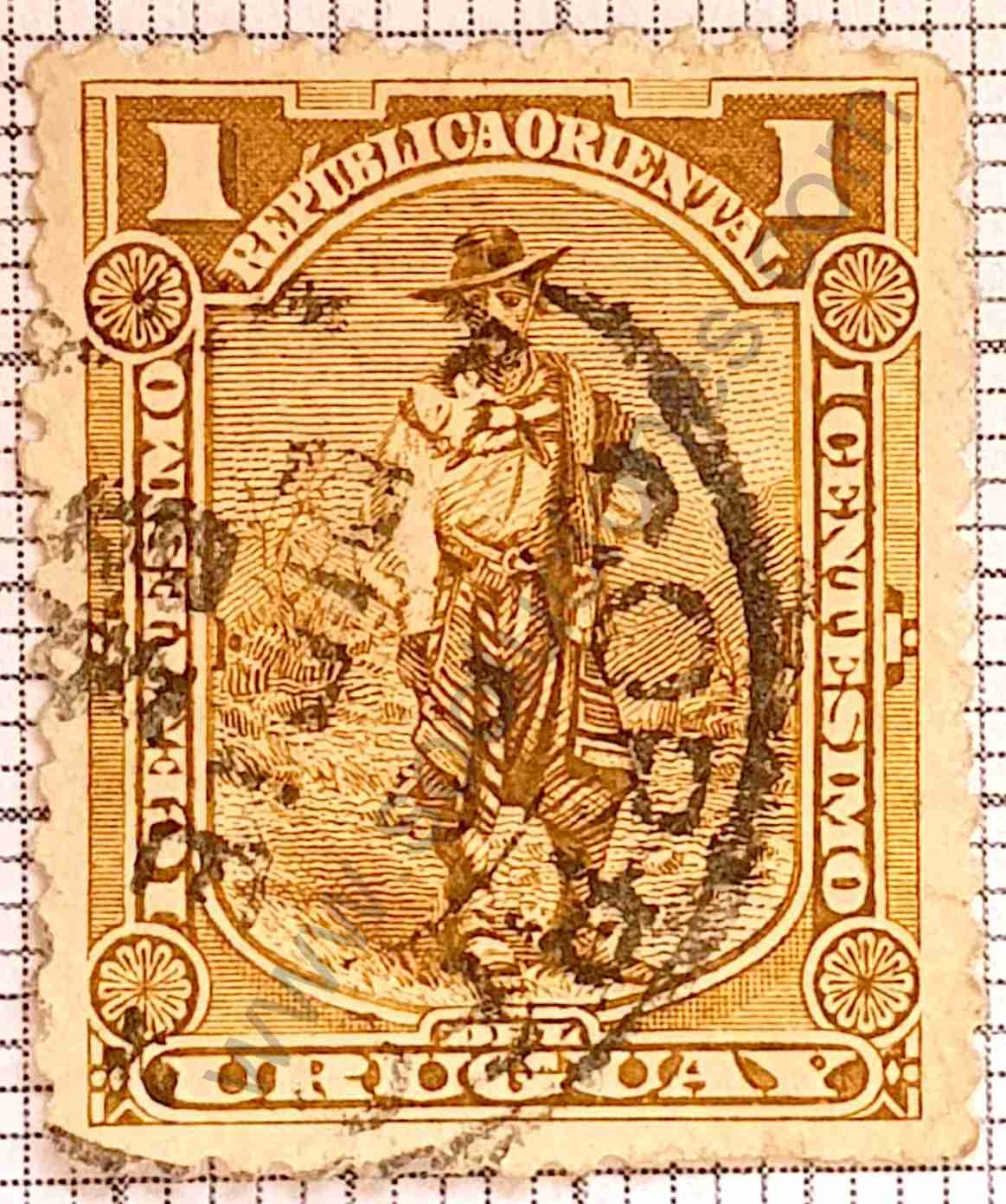 El Gaucho 1c - Sello Uruguay 1895