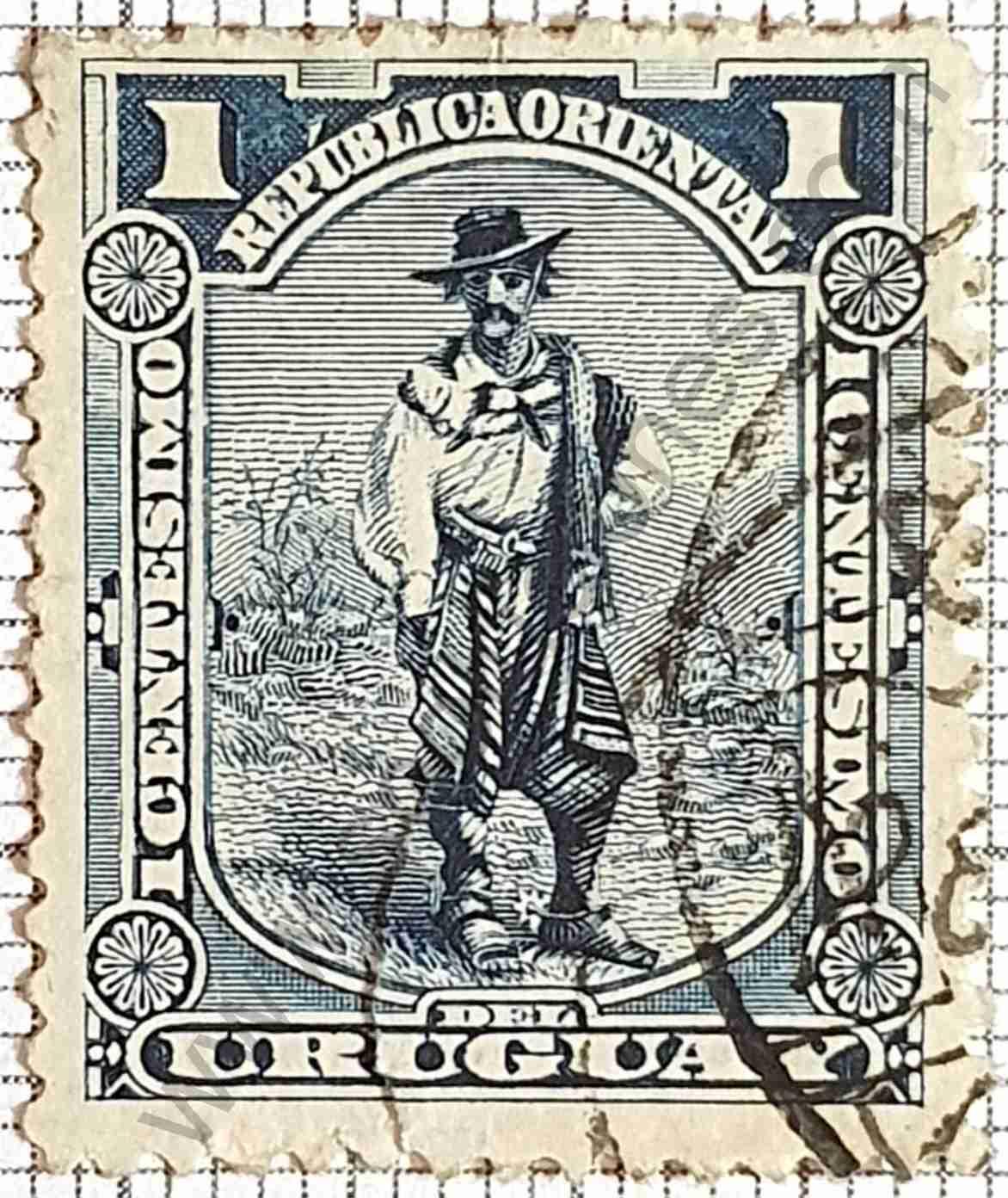 Gaucho dentado 14x14 - Sello de Uruguay 1897