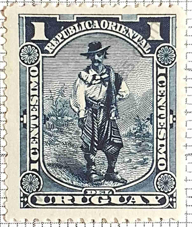 El Gaucho dentado 15x15 - Sello Uruguay 1897