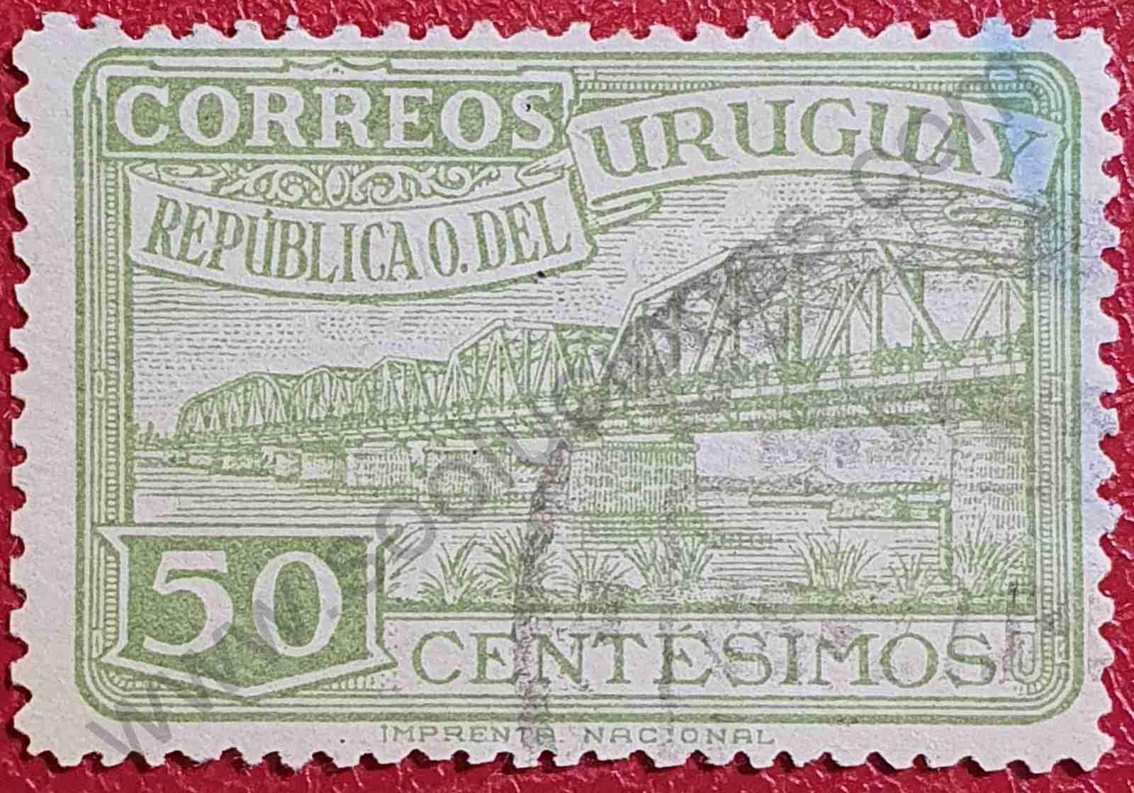 Puente río Santa Lucía - Sello Uruguay 1948