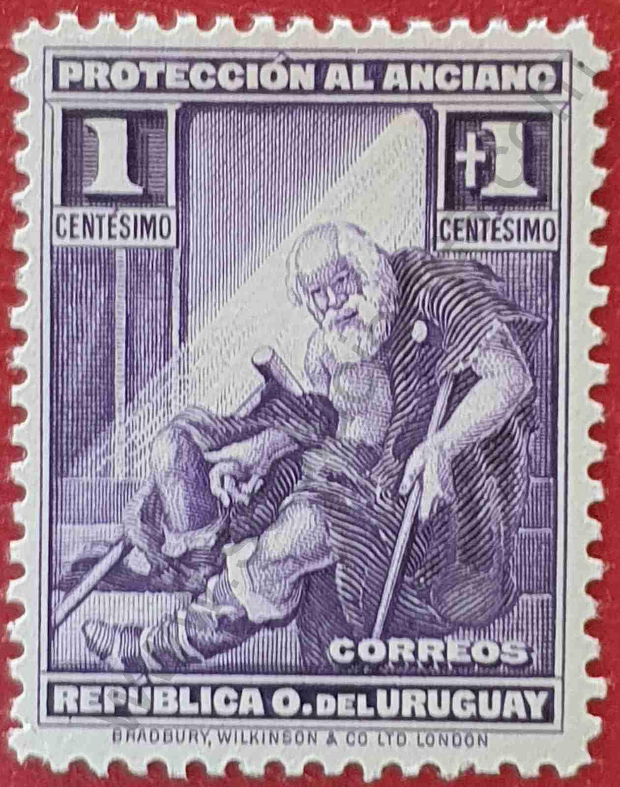 Anciano - Sello de Uruguay año 1930