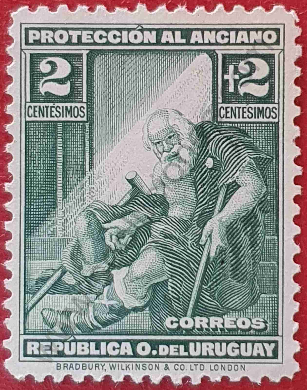 Sello 2+2 Anciano - Uruguay 1930