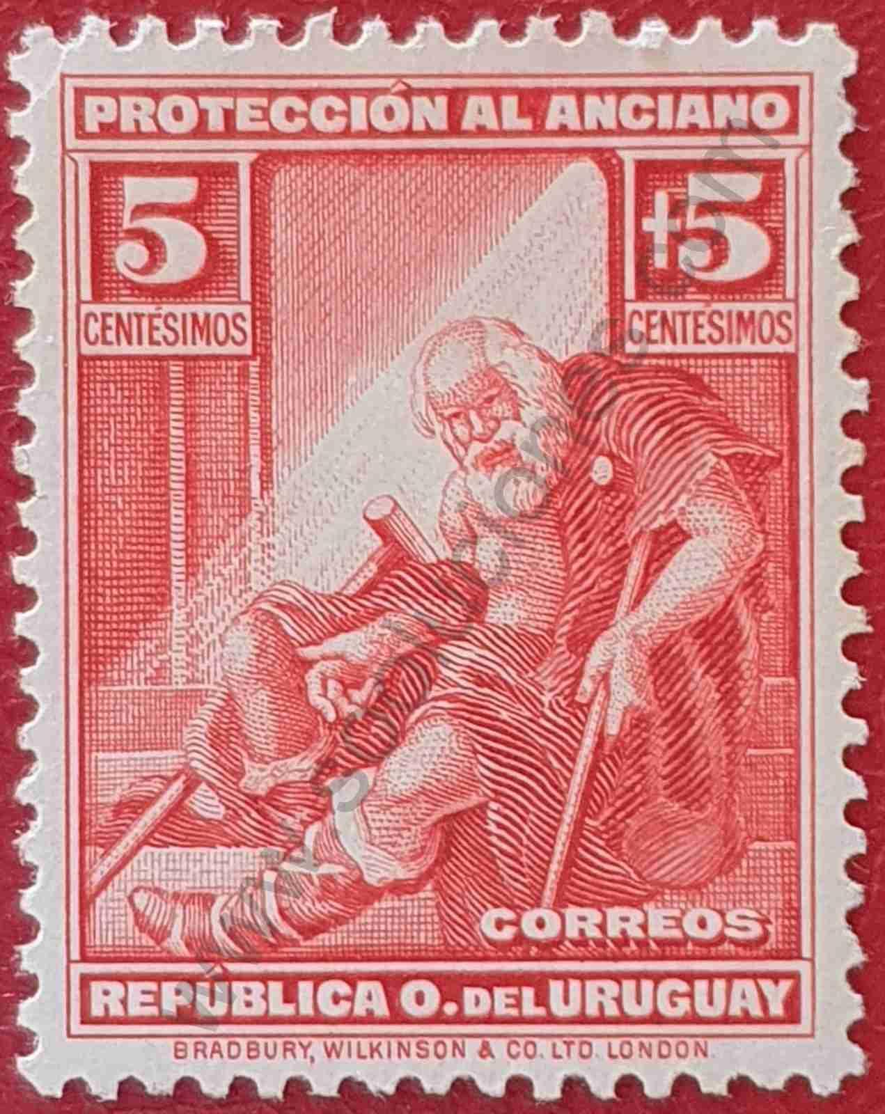 Sello de Uruguay - Anciano 5+5 - 1930