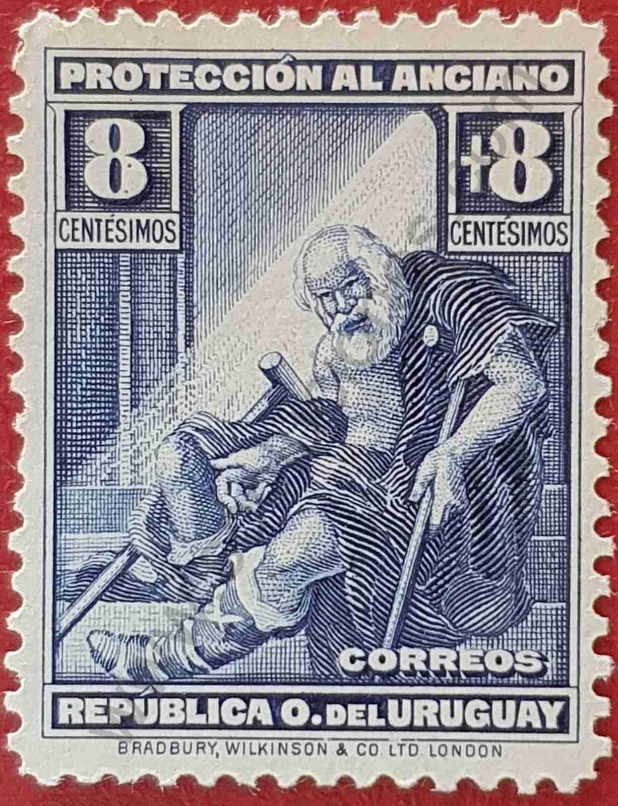 Anciano 8+8c - Sello Uruguay 1930