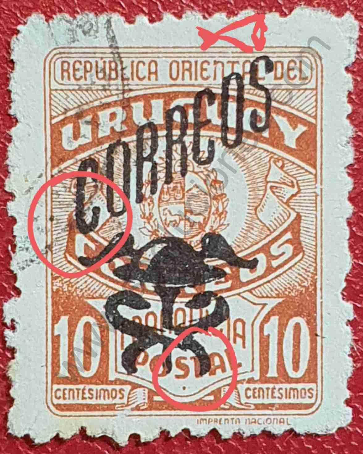 Sello con escudo y símbolo - Uruguay 1946
