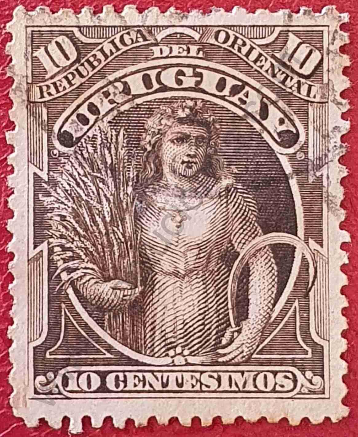 Diosa Ceres 10c - Sello de Uruguay 1895