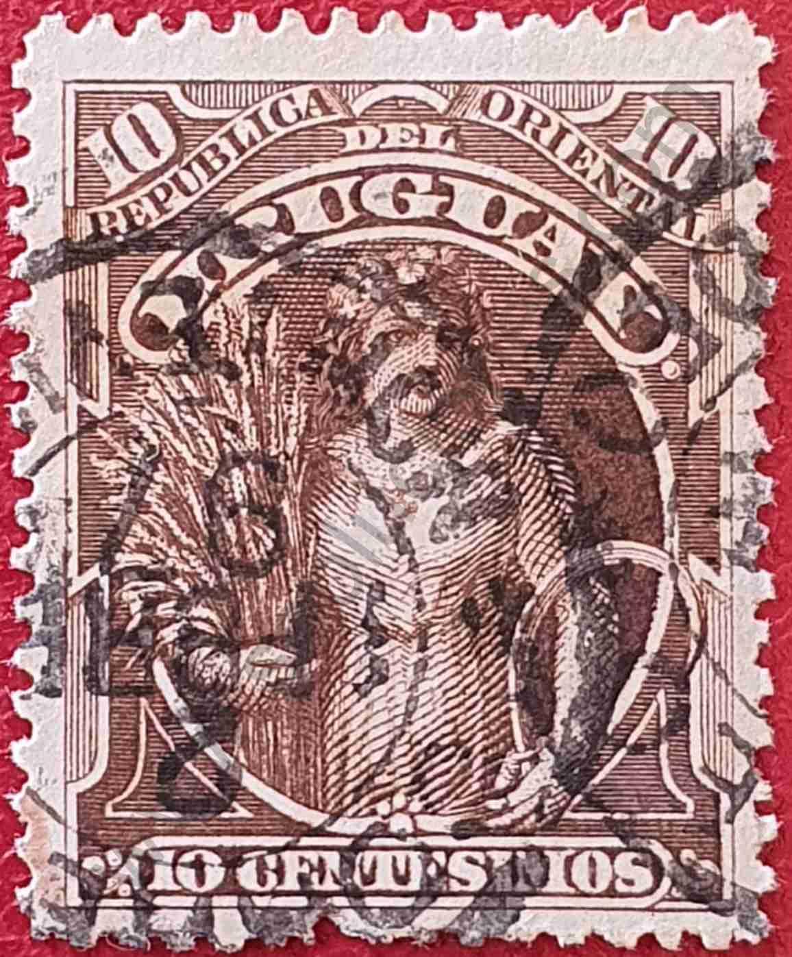 Sello Uruguay 1895 - Diosa Ceres 10c