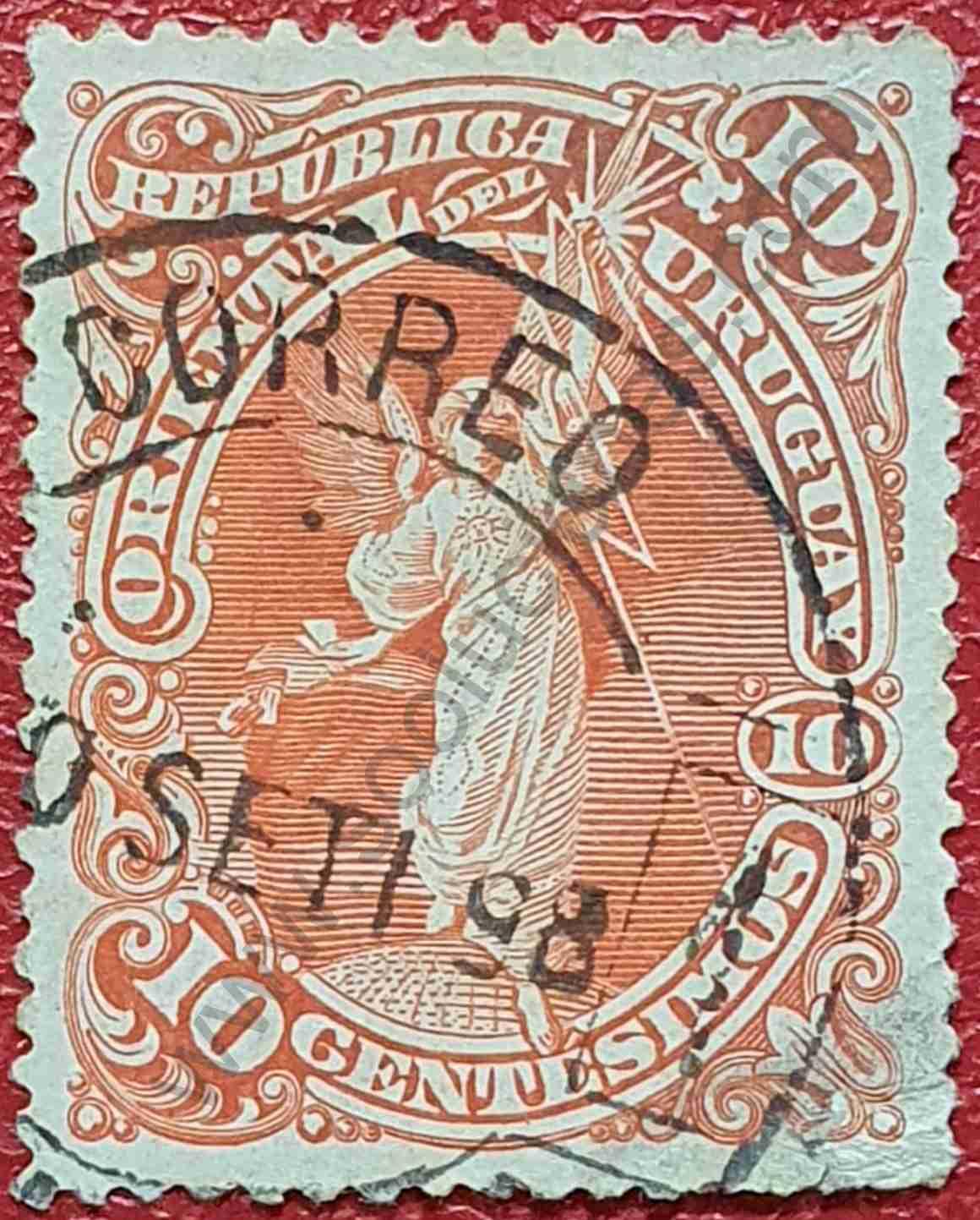 Alegoría Electricidad - Sello Uruguay 1897