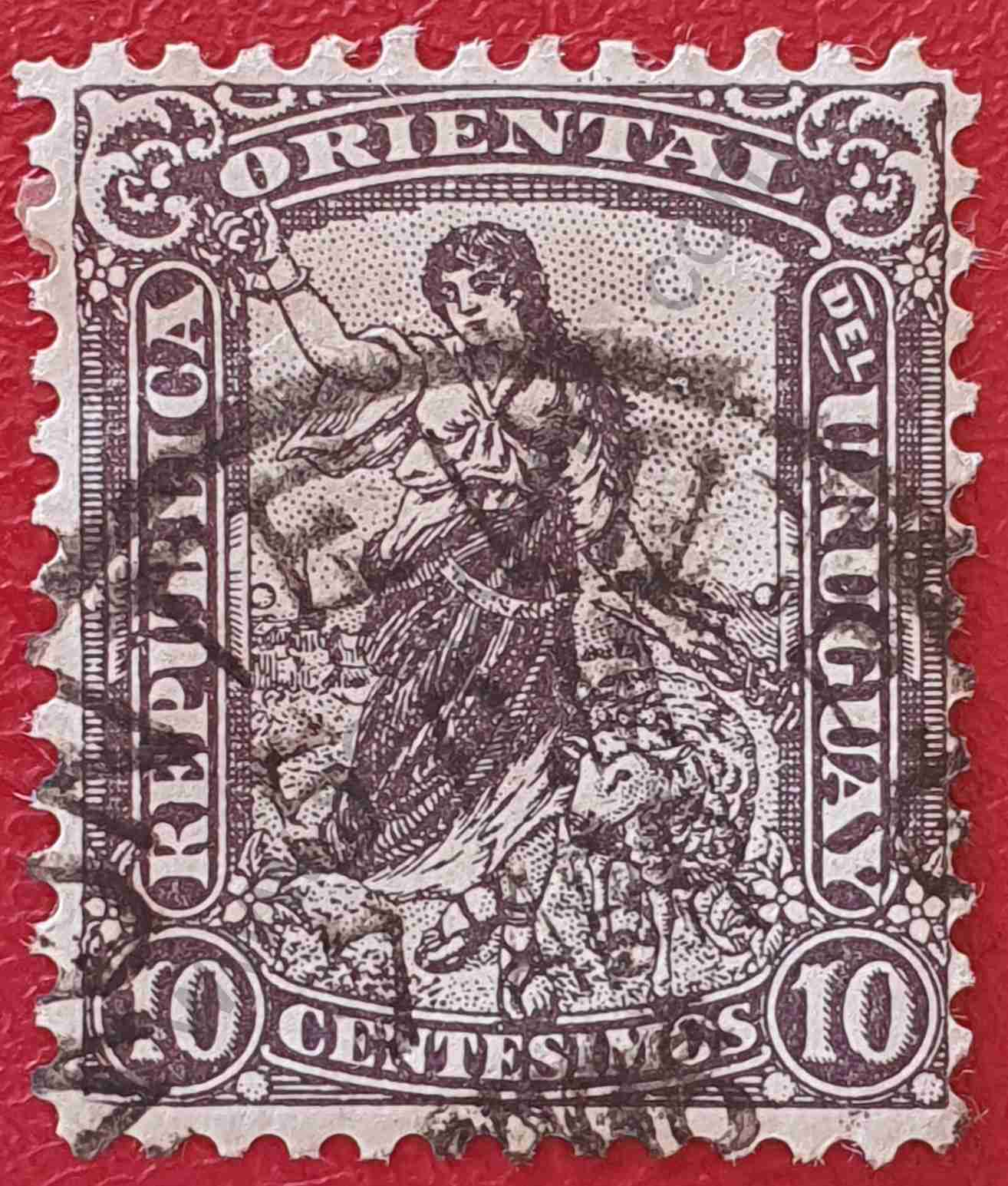 Pastora y oveja - Sello de Uruguay 1905