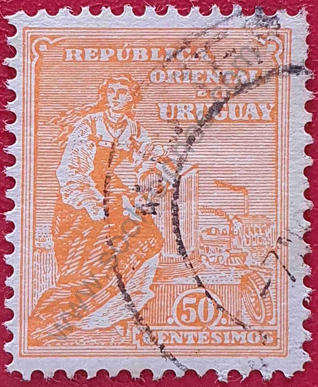 Alegoría Industria y Transporte - Sello de Uruguay 1914