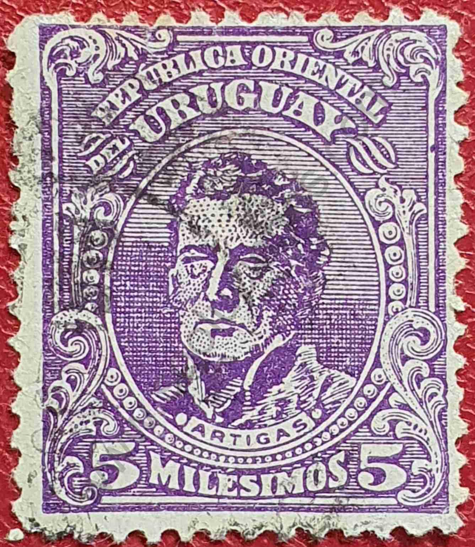 Sello Artigas 5m - Uruguay año 1918