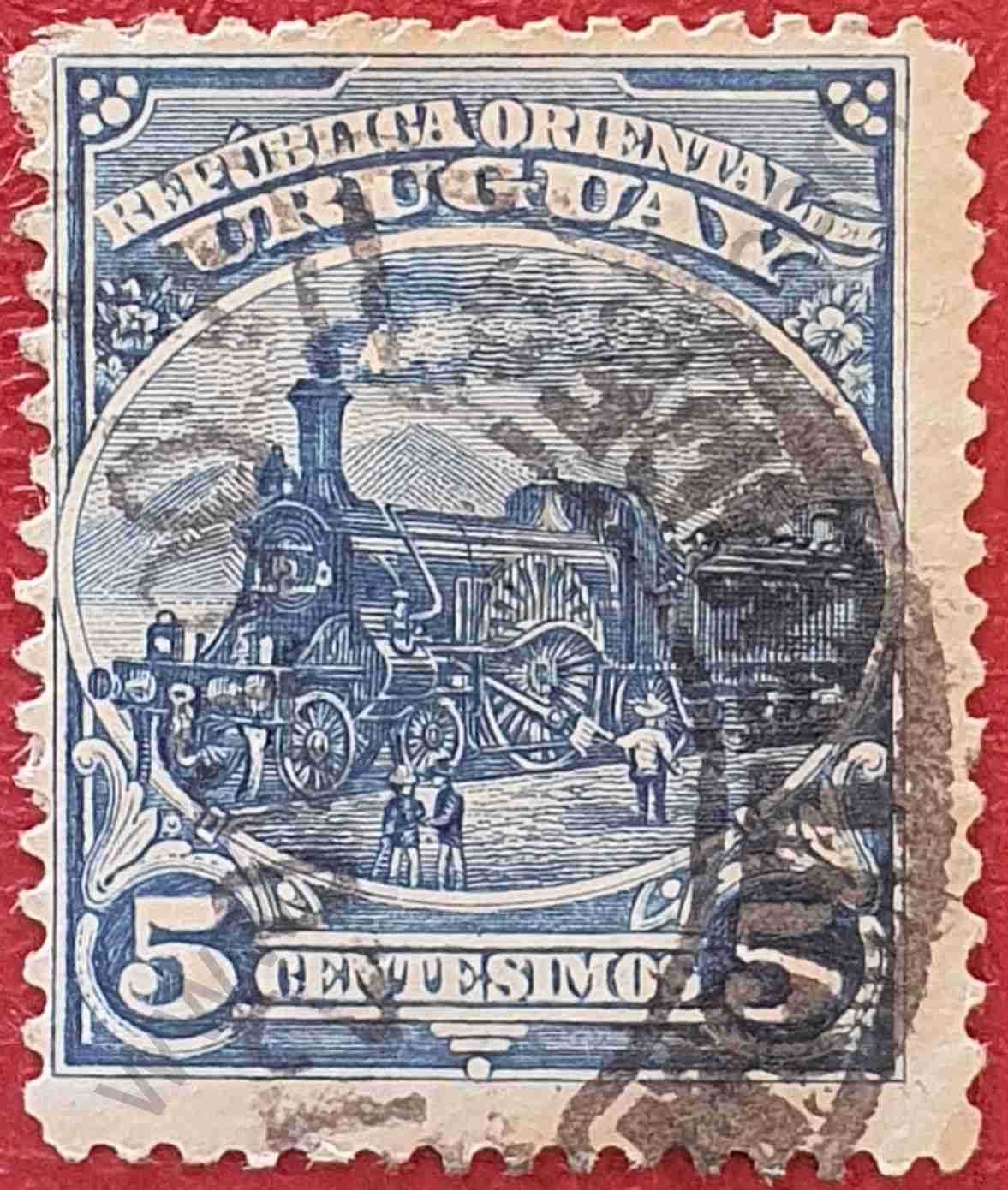 Locomotora 5c - Sello de Uruguay 1899