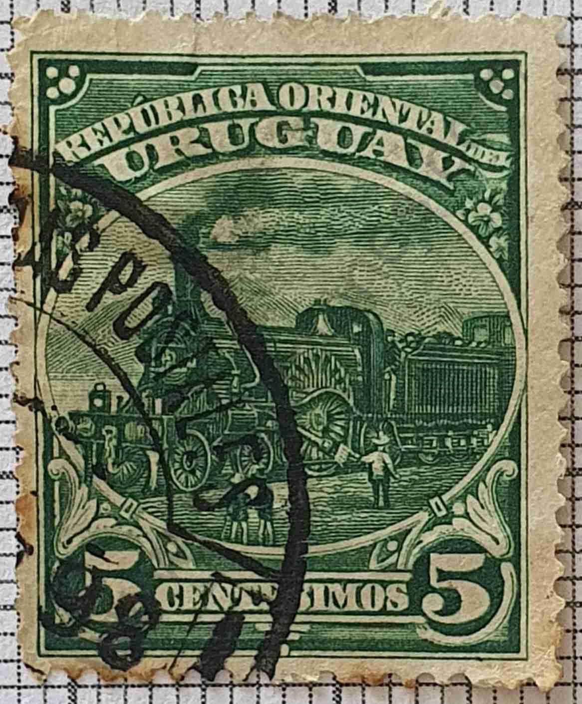 Sello de 1897 locomotora - Uruguay