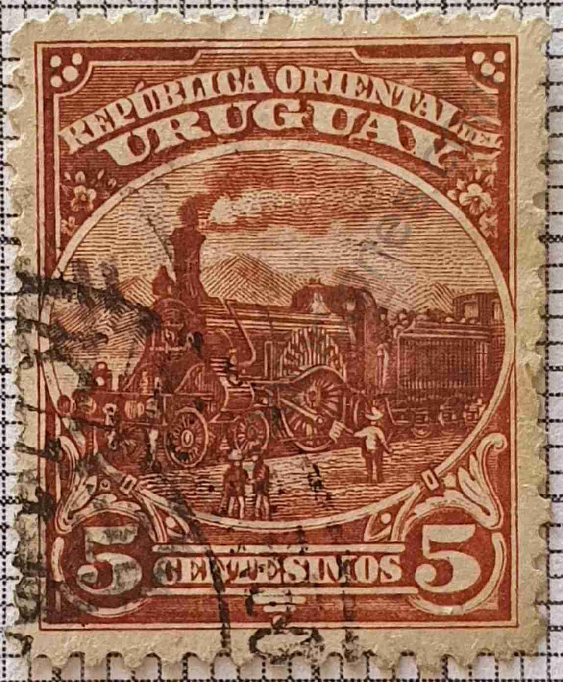 Locomotora - Sello 5c - Uruguay 1897