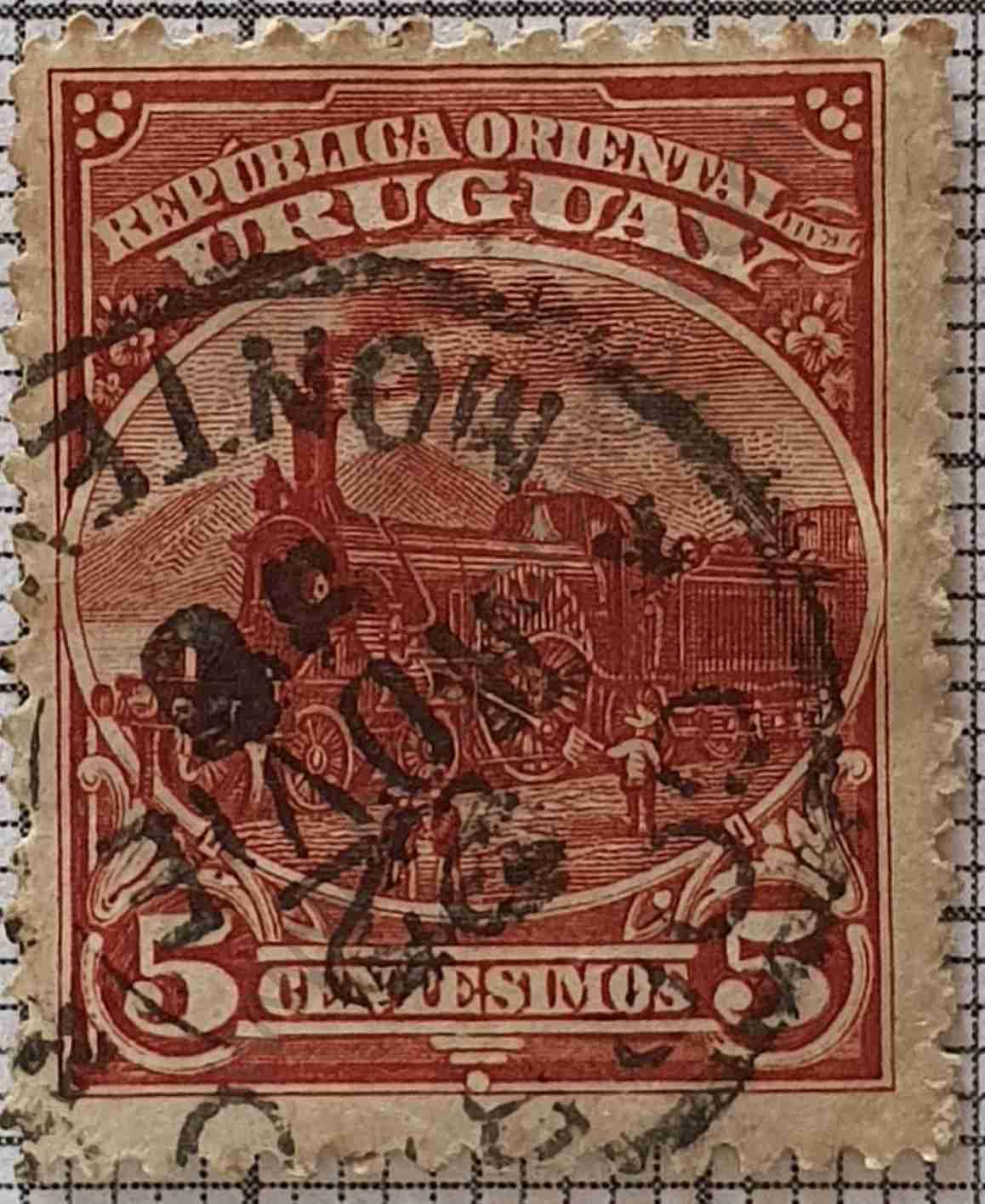Sello Locomotora 5c - Uruguay 1897