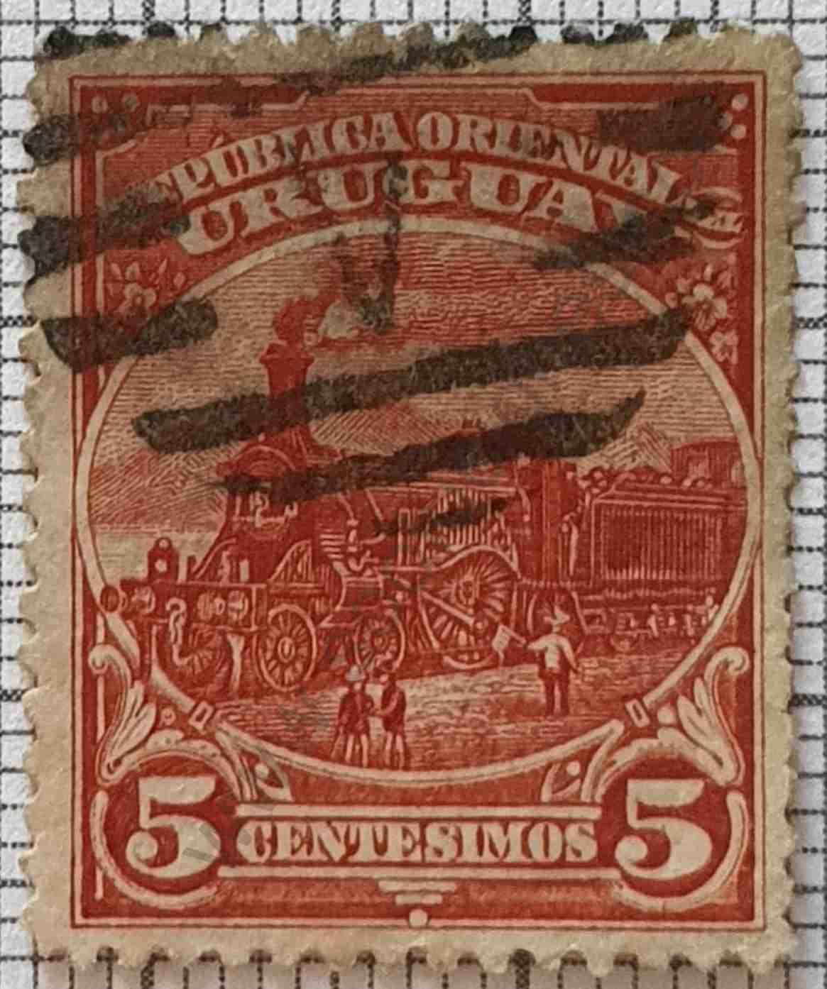 Sello Uruguay 5c Locomotora - 1895