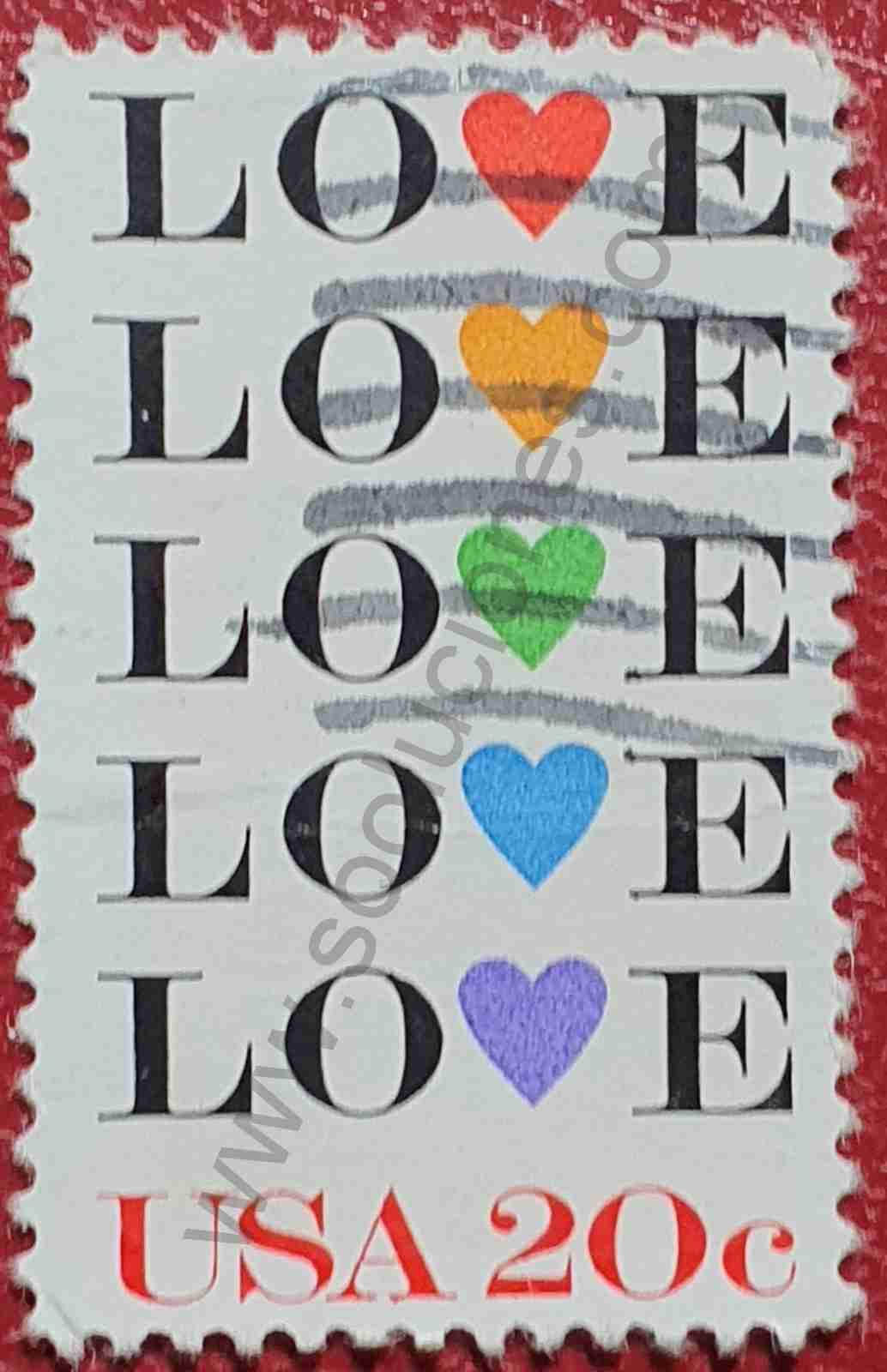 Amor - Love - Sello Estados Unidos 1984