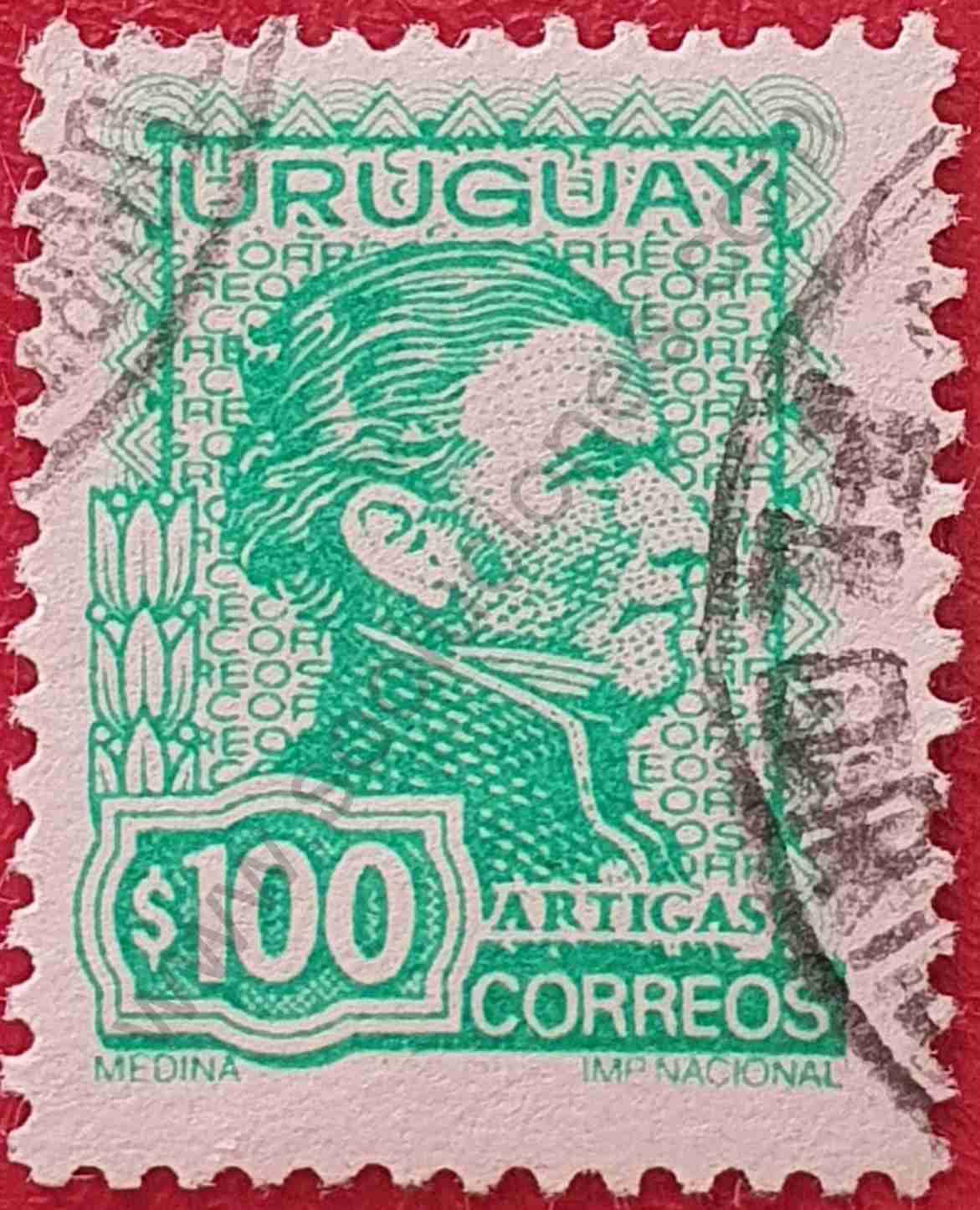 Artigas $100 - Sello Uruguay año 1972