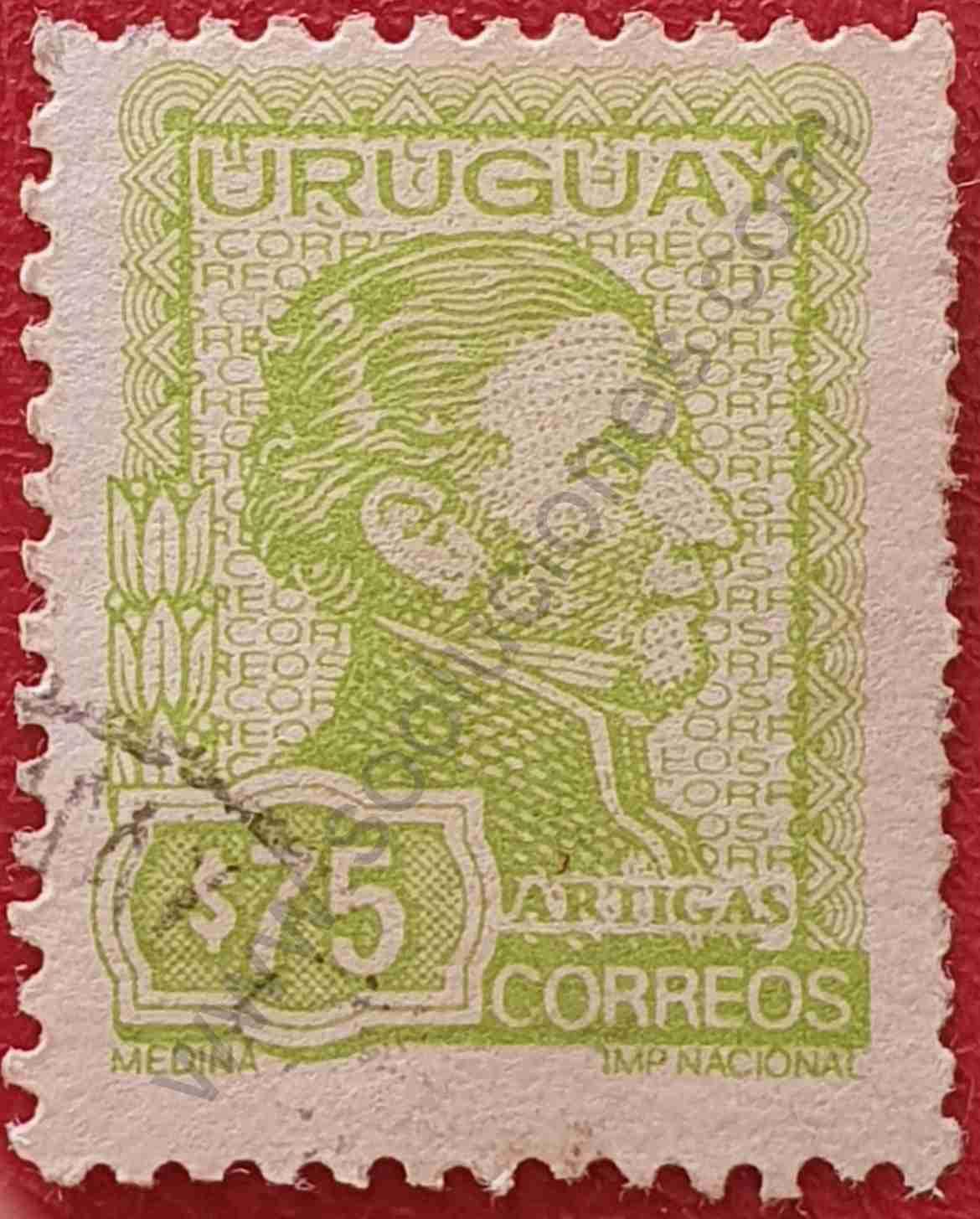 Artigas $75 - Sello Uruguay año 1973
