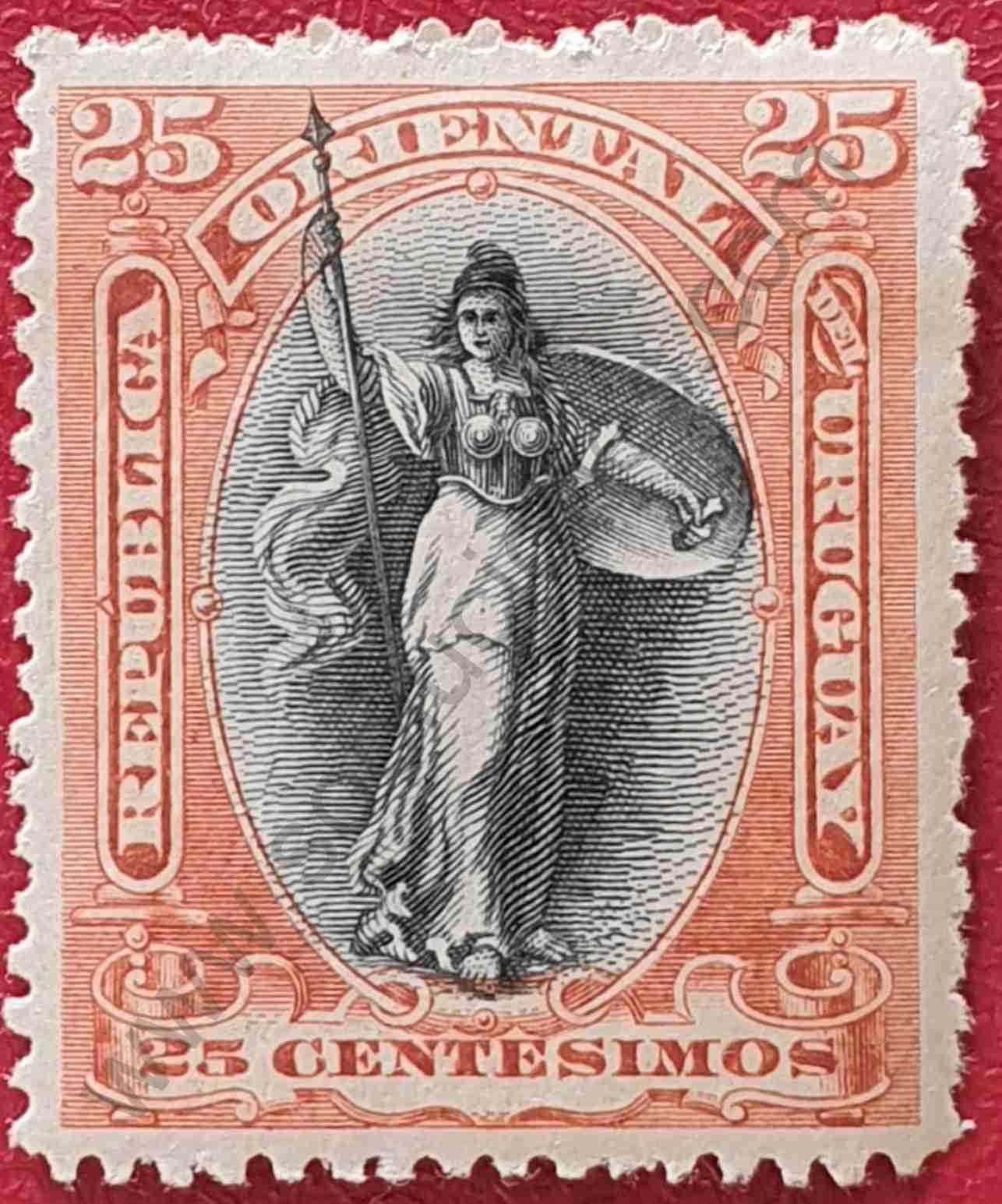 Minerva 20c - Sello de Uruguay 1897